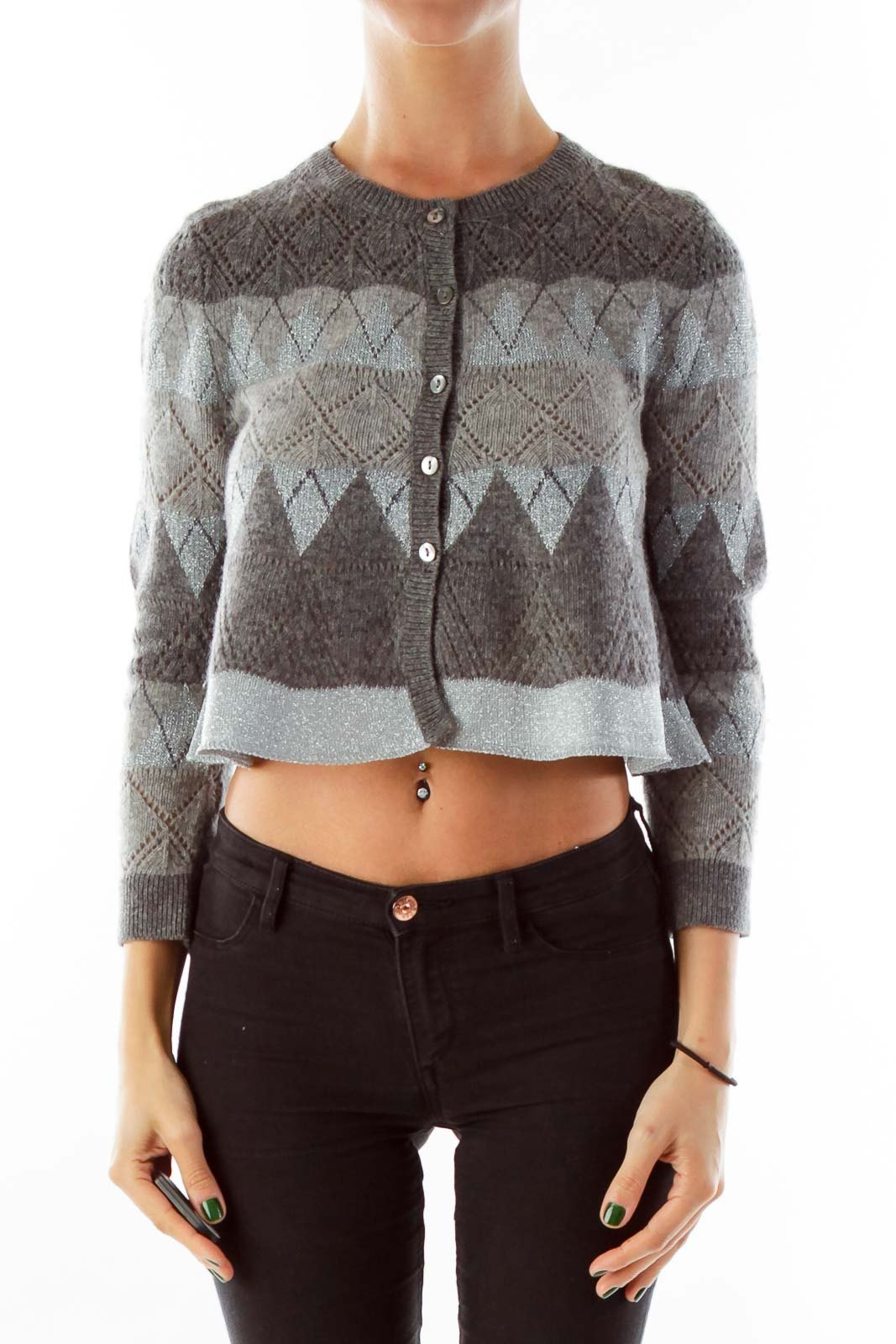 Gray Cropped Cardigan Front
