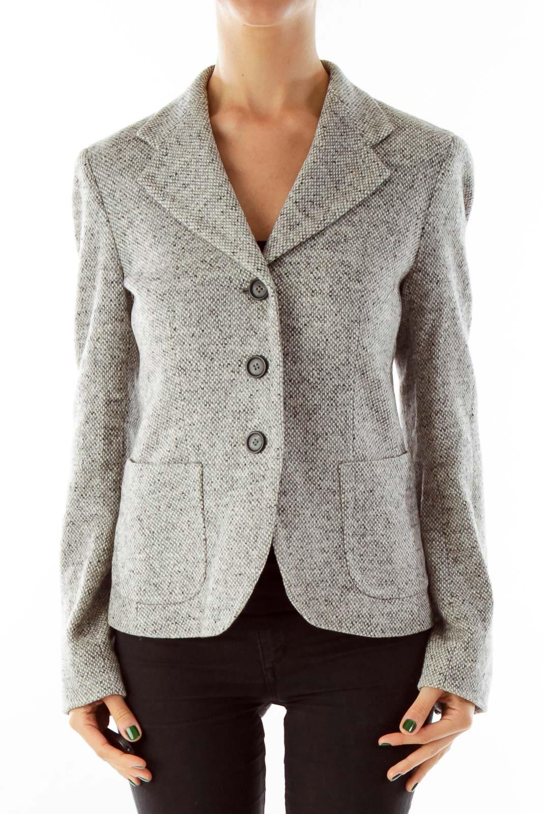 Gray Mottled Wool Blazer Front