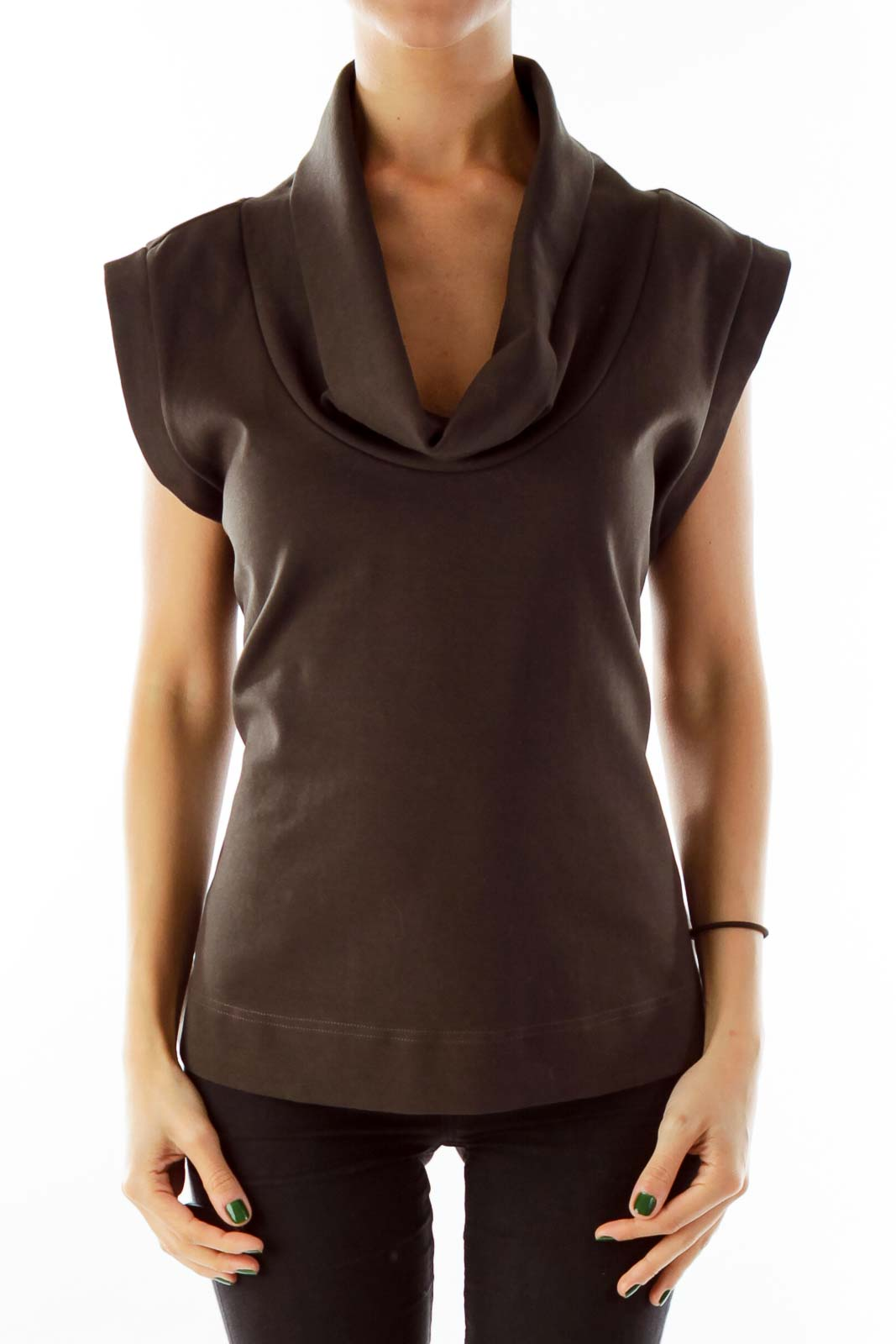 Brown Cowl Neck Sleeveless Top Front