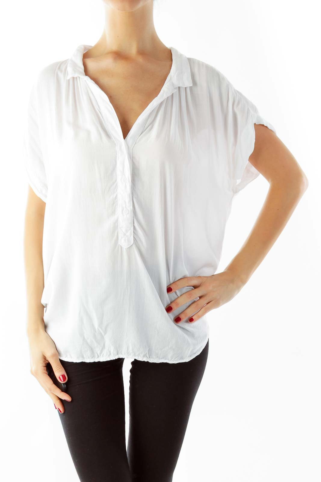 White Loose Top Front
