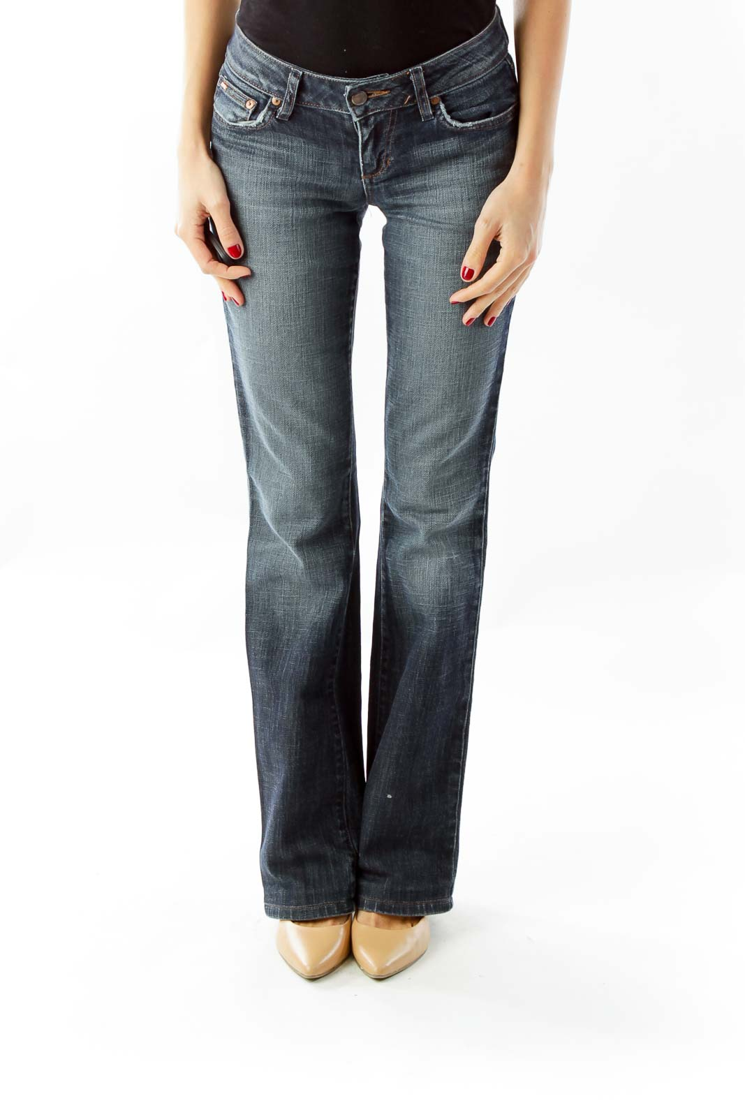 Blue Denim Flares Front
