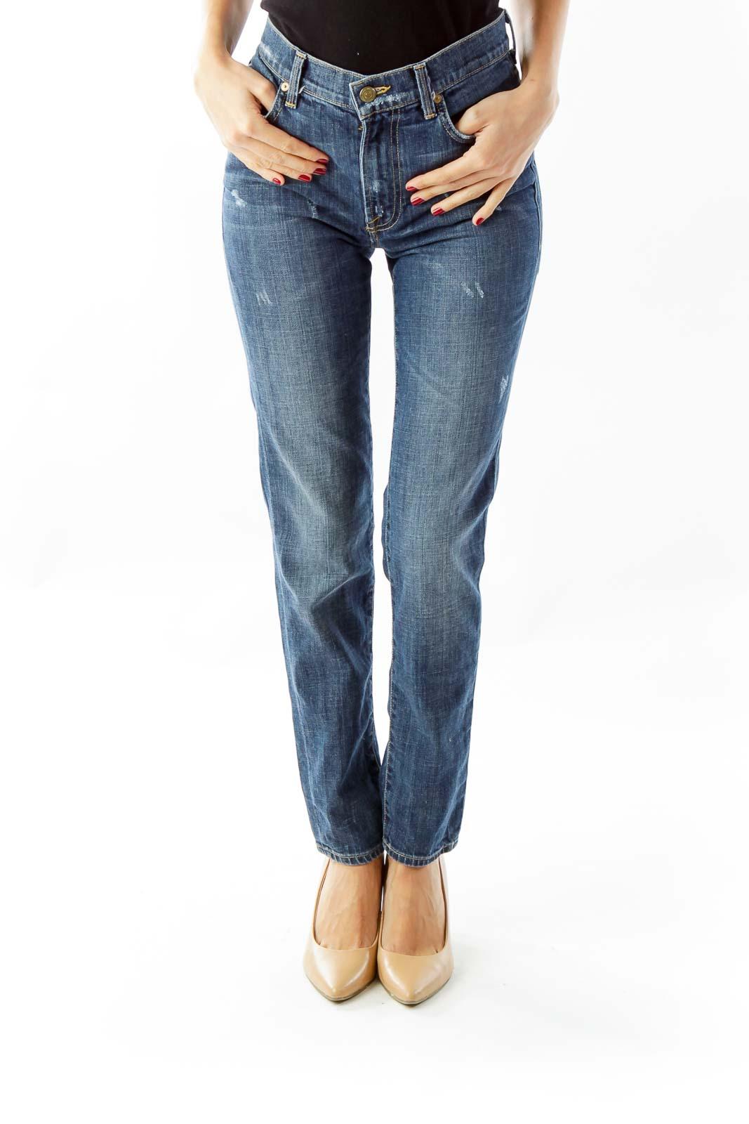 Blue Denim Straight Leg Jeans Front