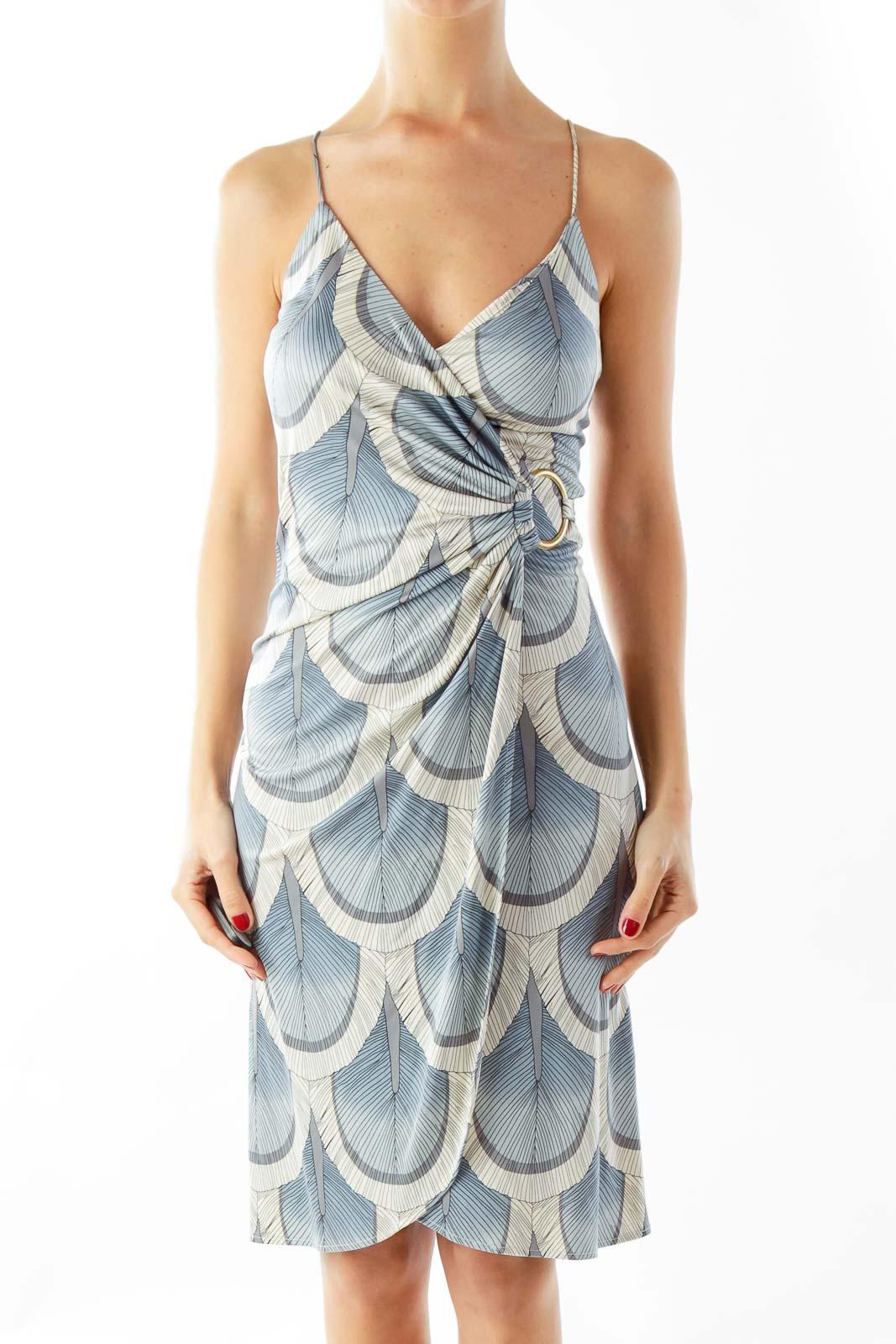 Blue Silk Day Dress Front