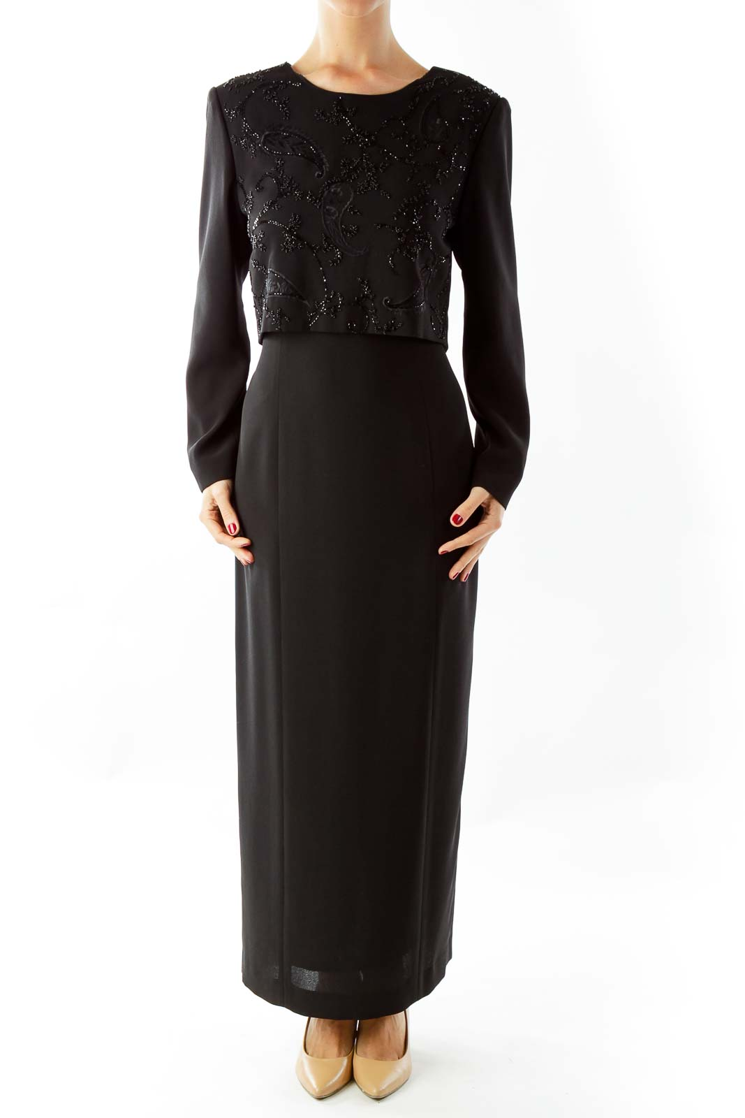 Black Beaded Evening Gown Front