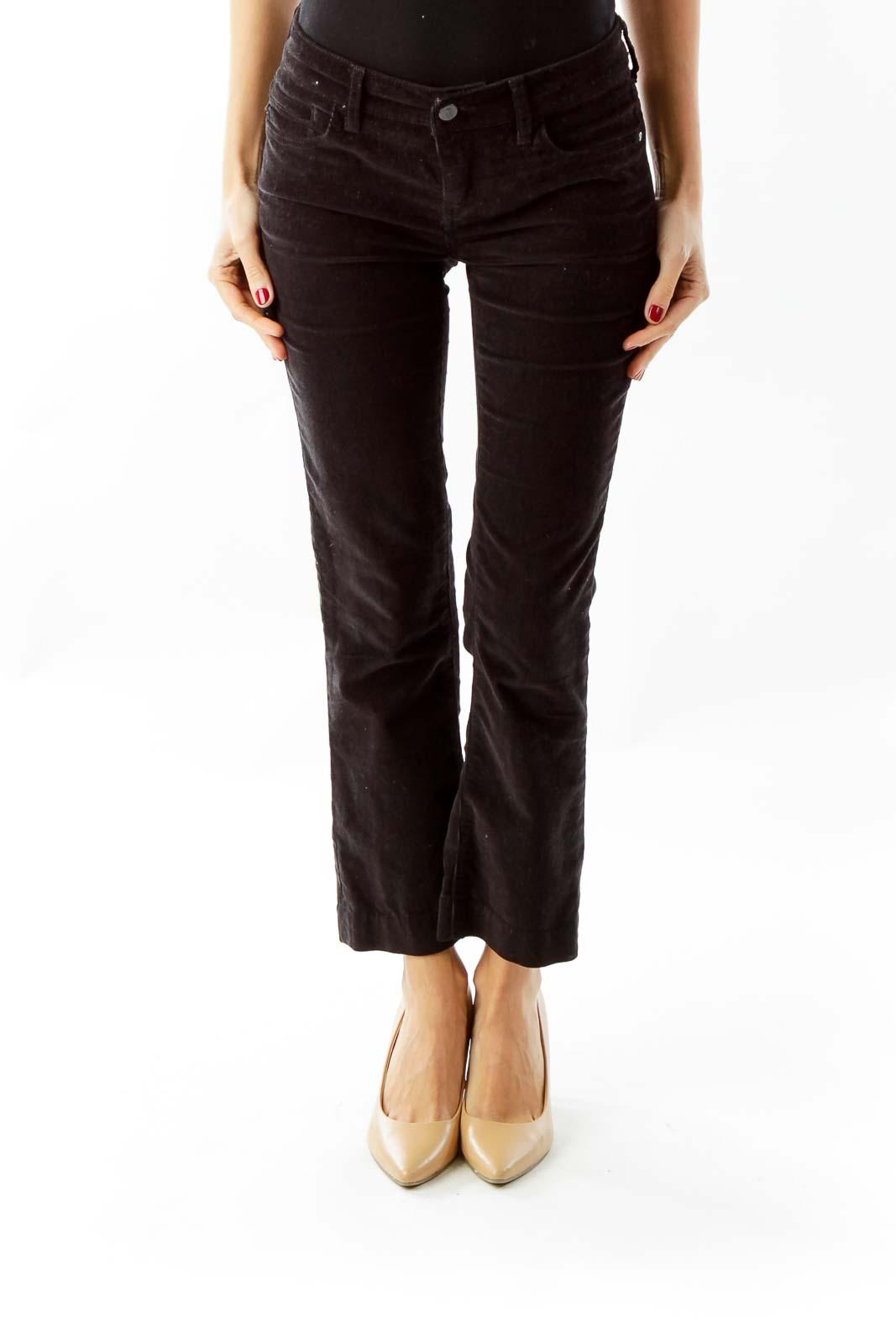 Black Corduroy Slim Fit Pants Front