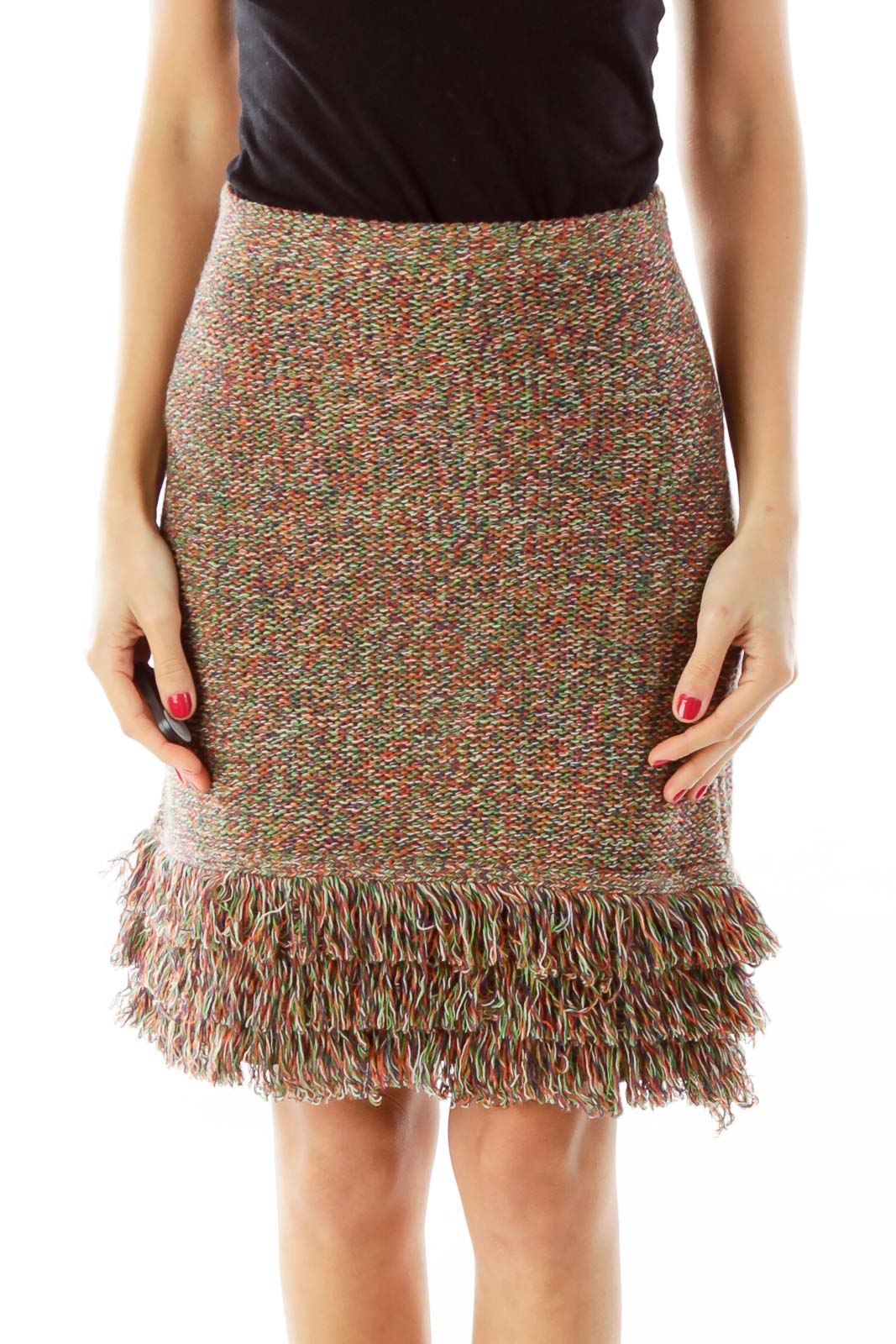 Multicolor Fringe Knit Skirt Front