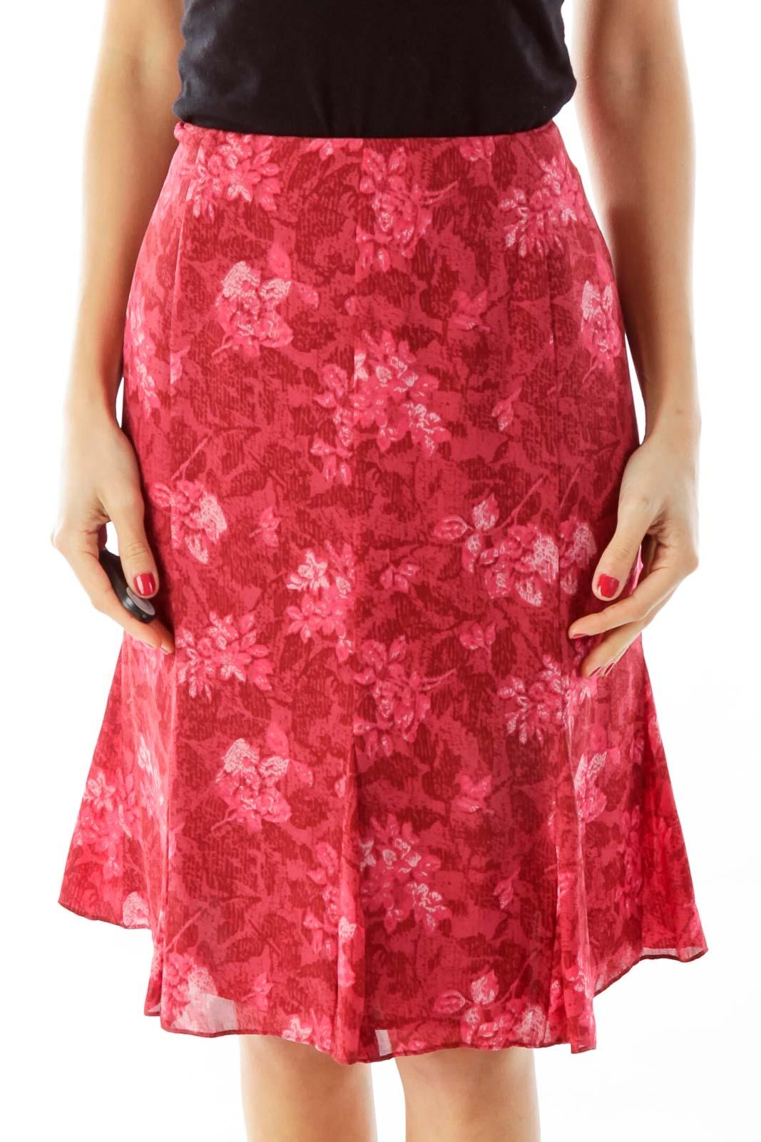 Red Flower Print Flared Skirt Front