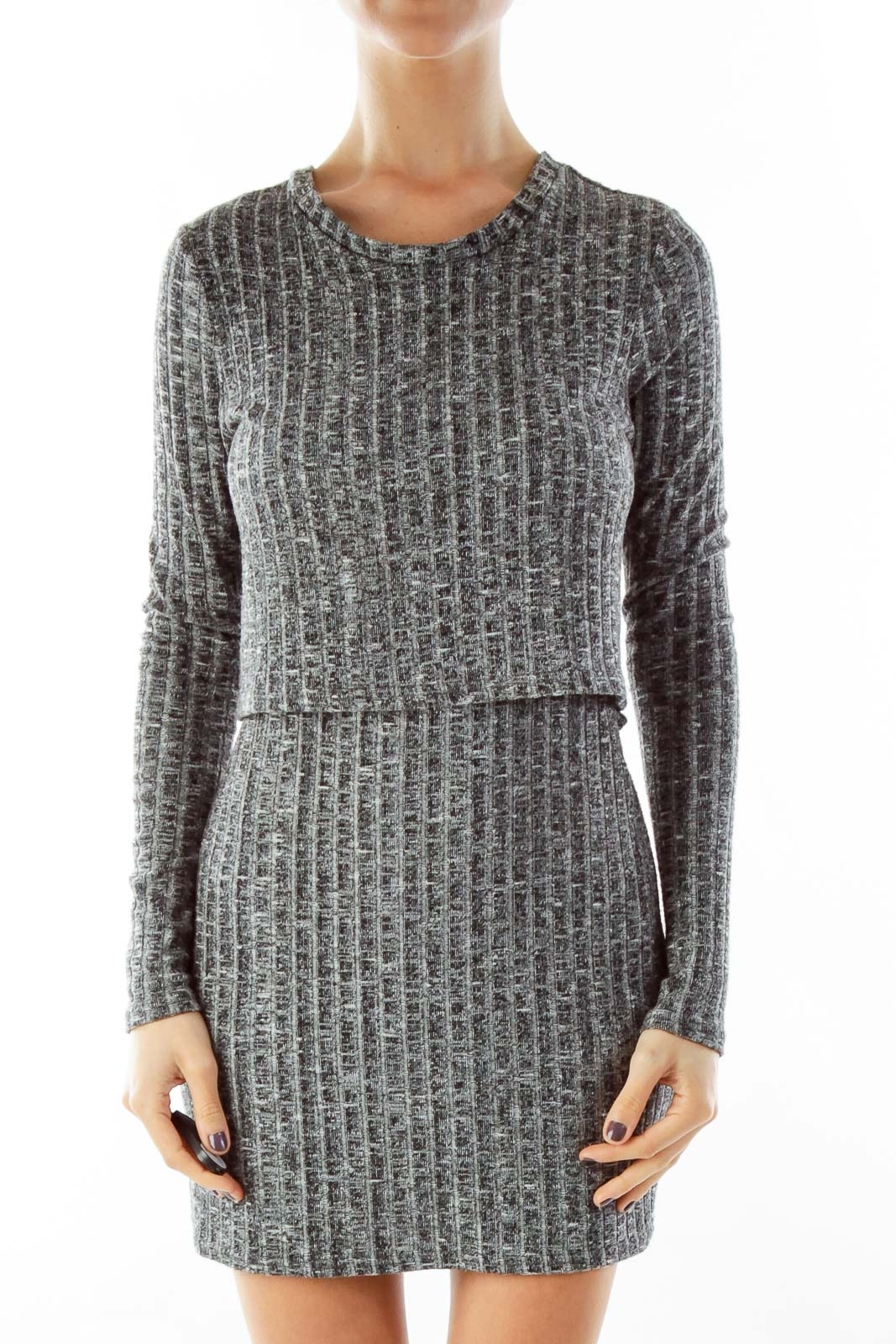 Gray Marled Knit Dress Front