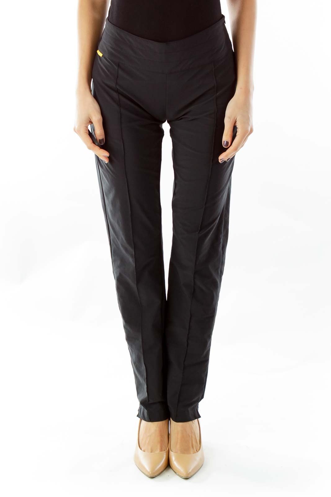 Black Pleated Active Pants Front