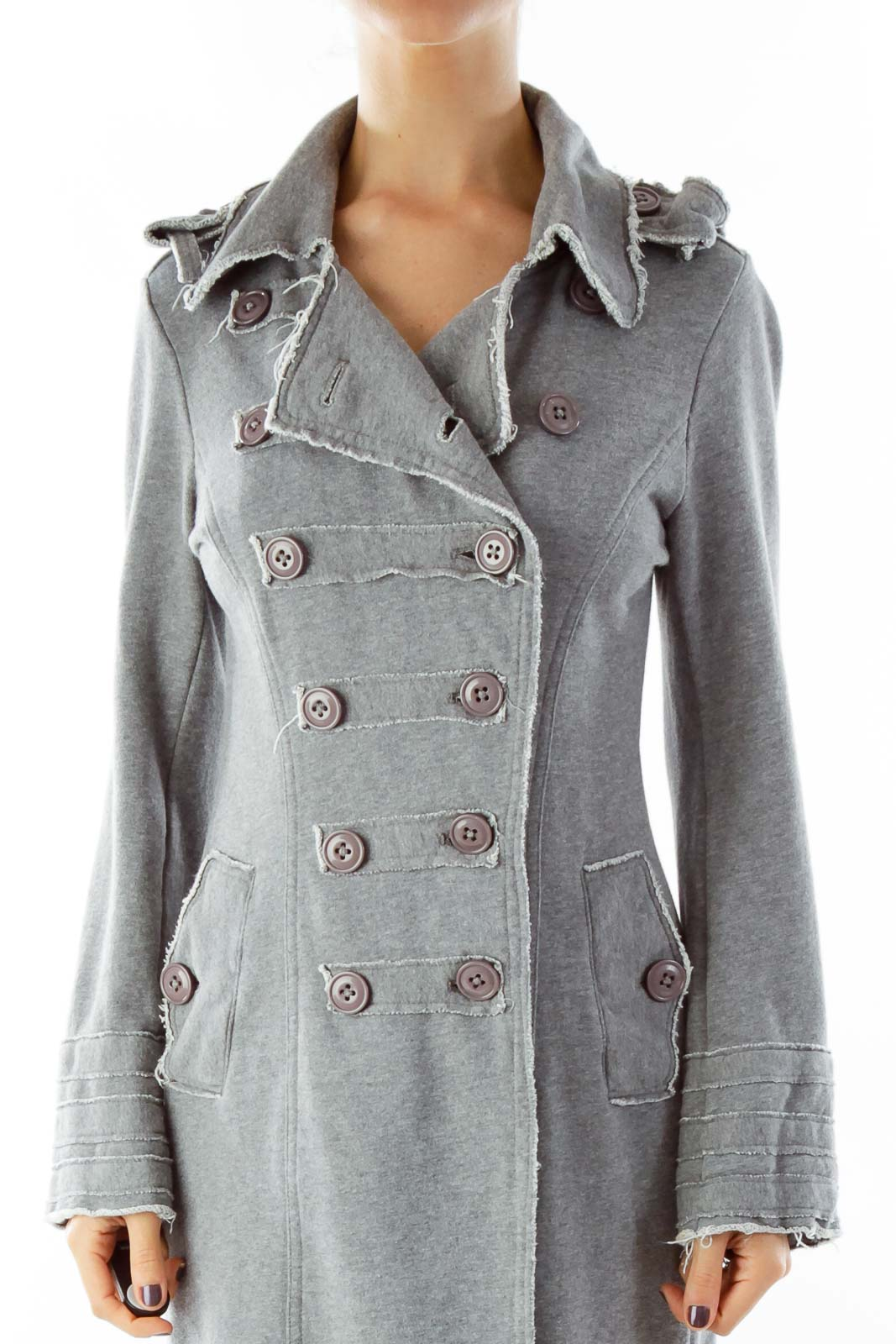 Gray Buttoned Sweater Coat Front