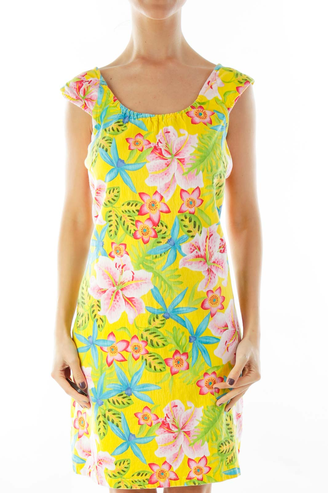 Yellow Floral Day Dress Front