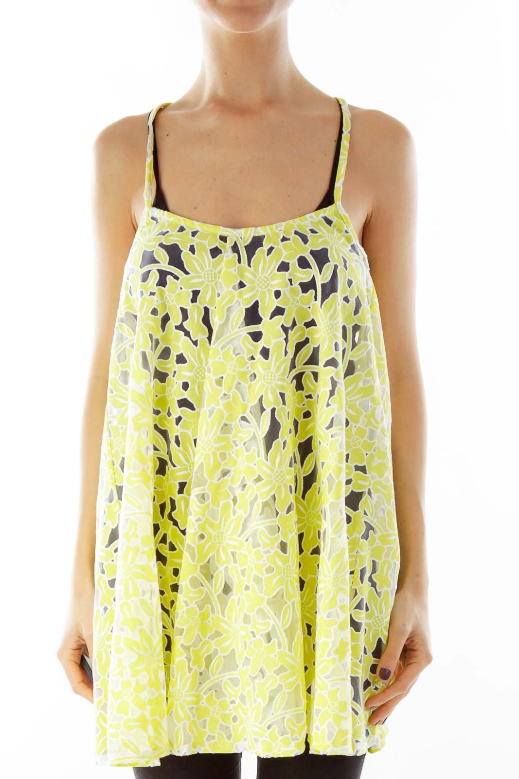 Yellow Floral Lace Tank Top Front