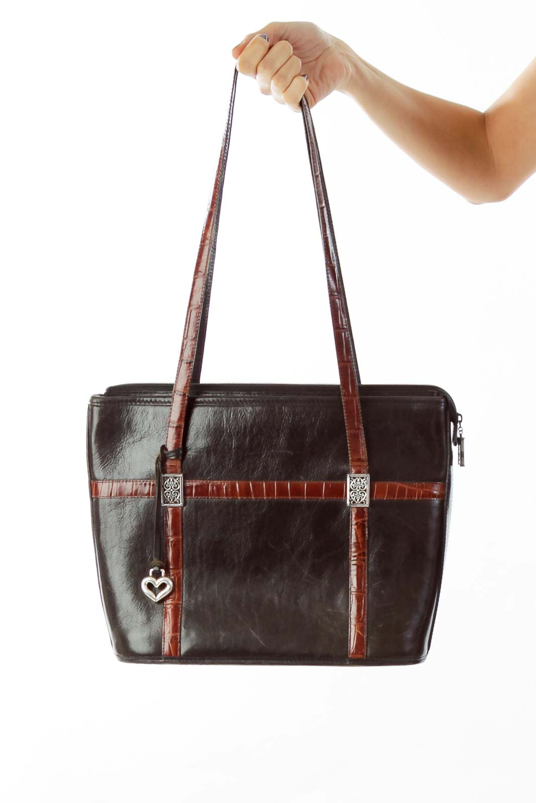 Black Leather Shoulder Bag Front