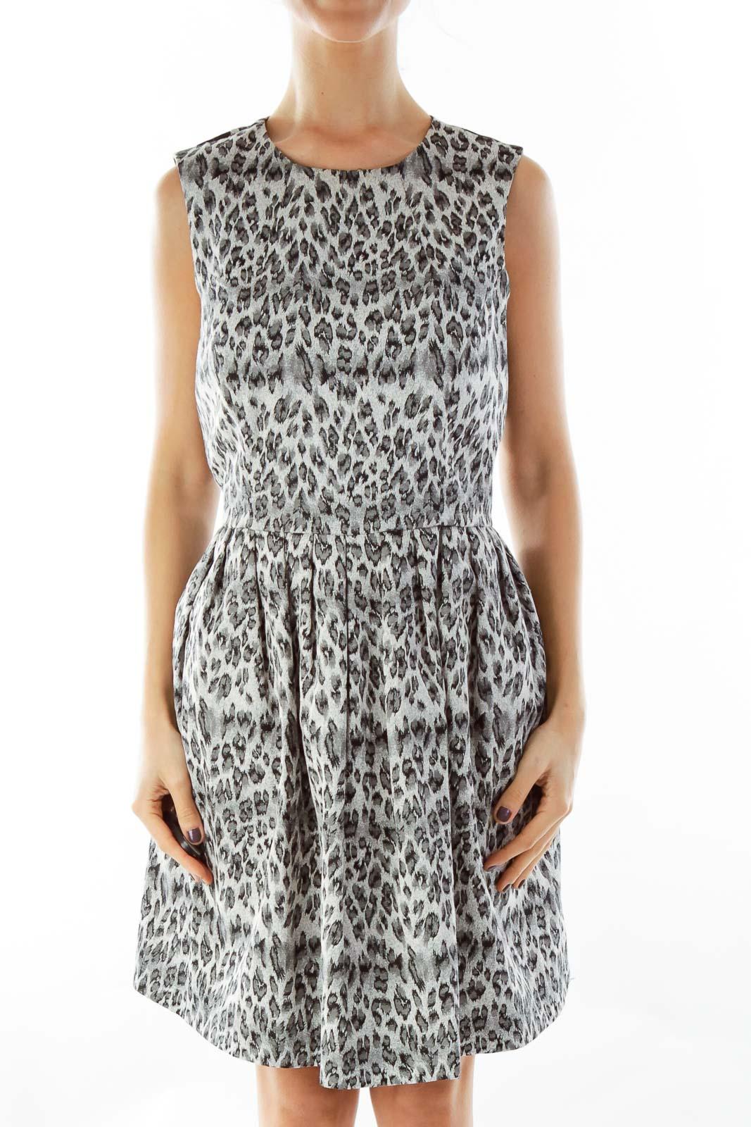 Gray Leopard Print Dress Front