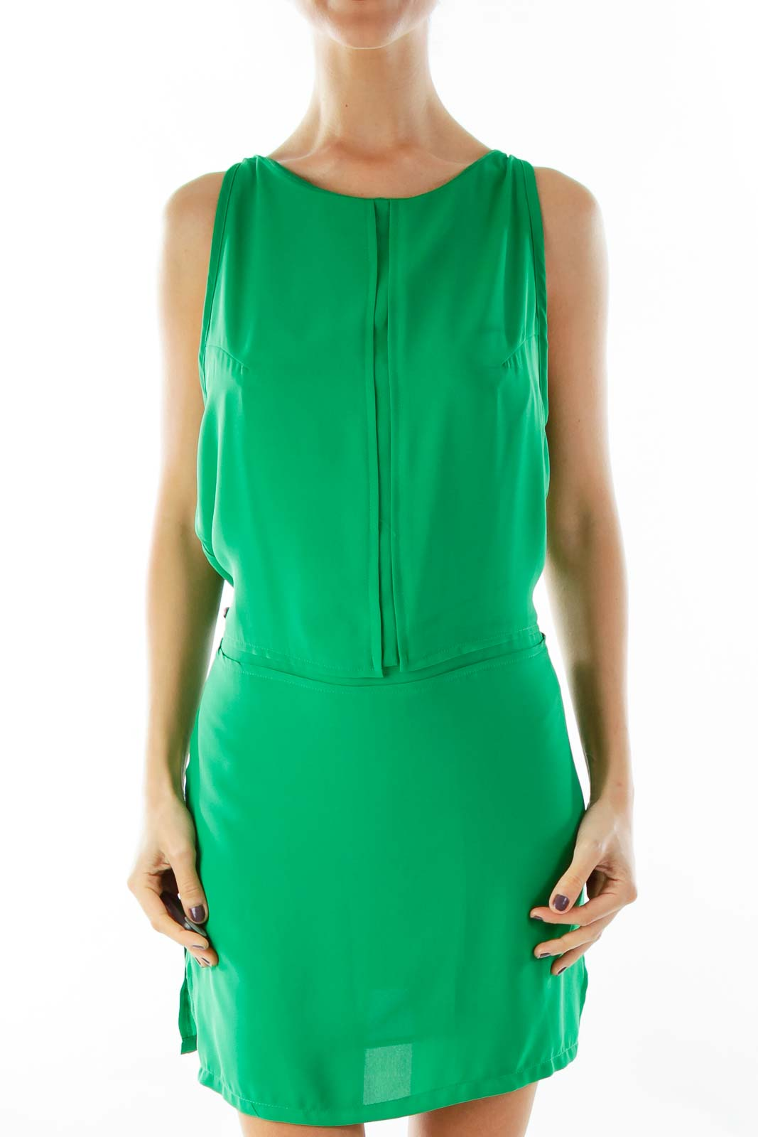 Green Shift Dress Front