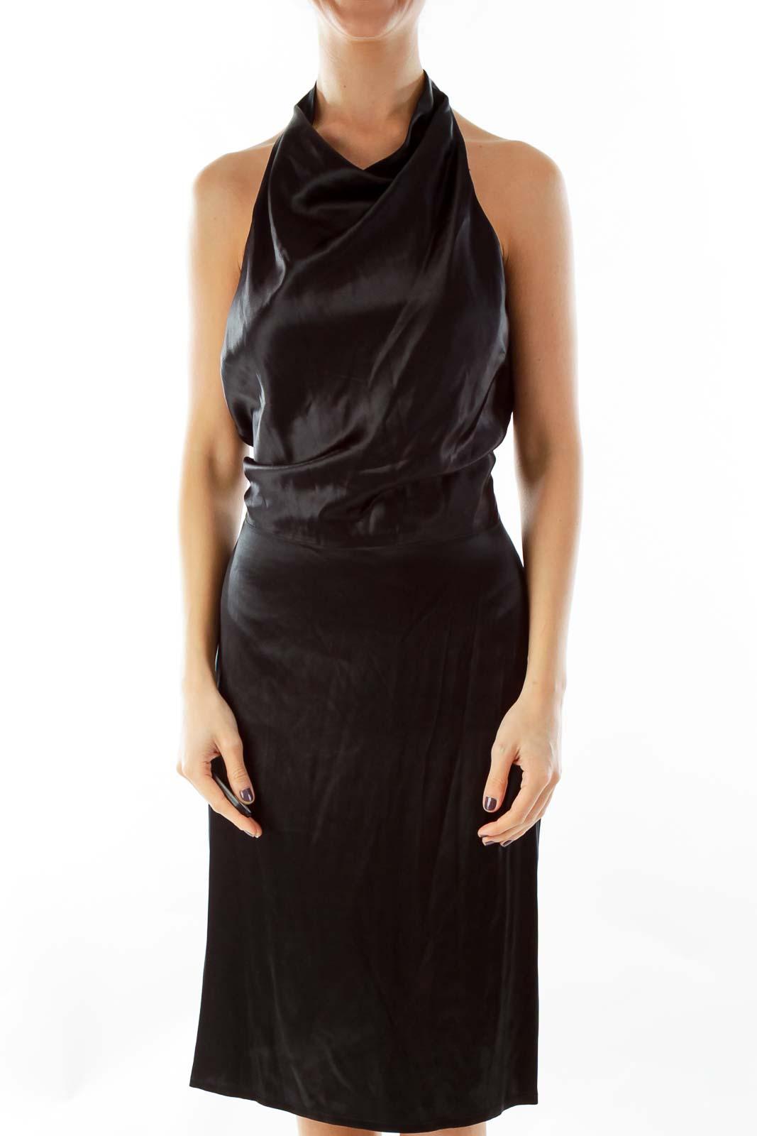 Black Silk Open-Back Dress Front