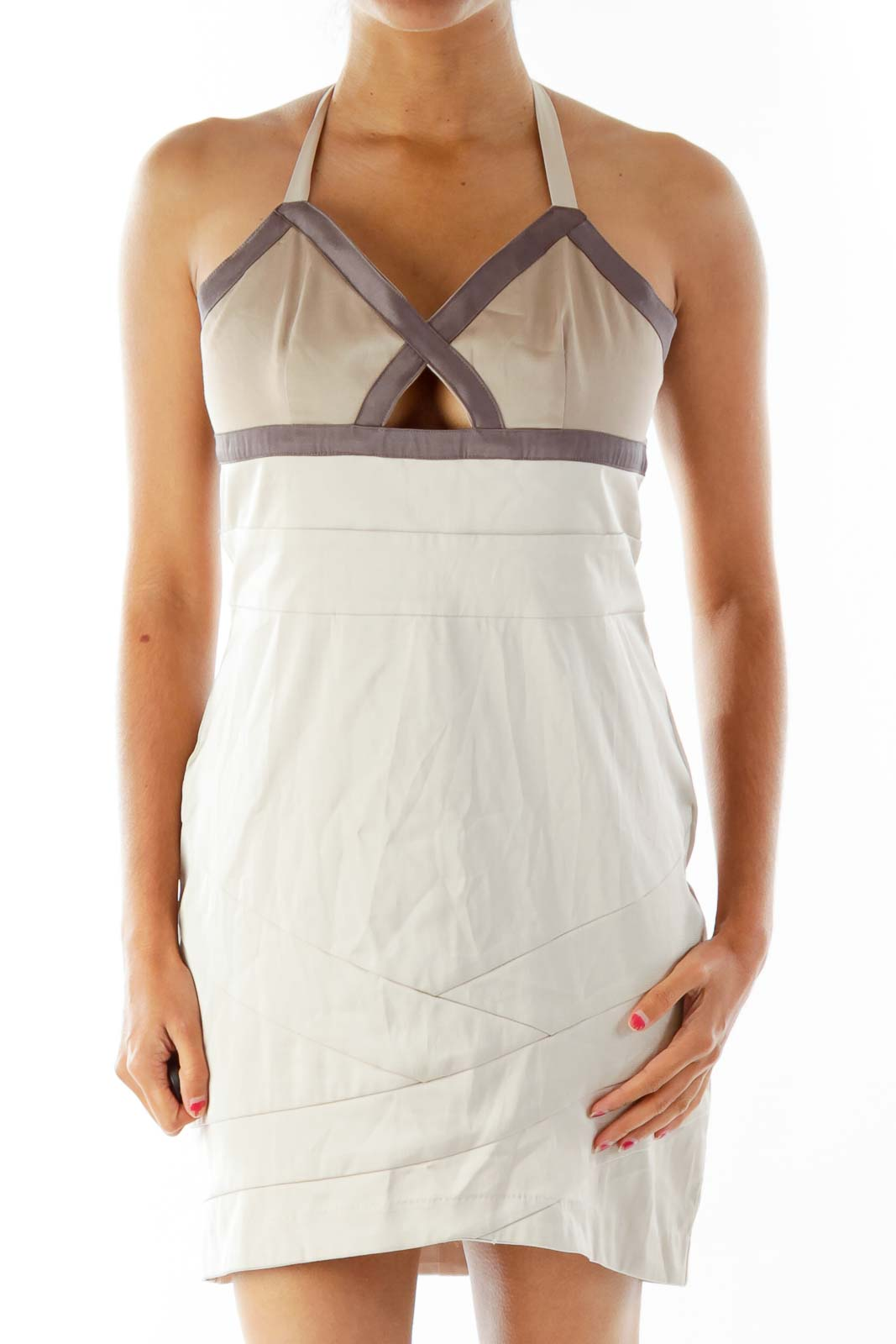 Brown Fitted Bandage-Wrap Cocktail Dress Front