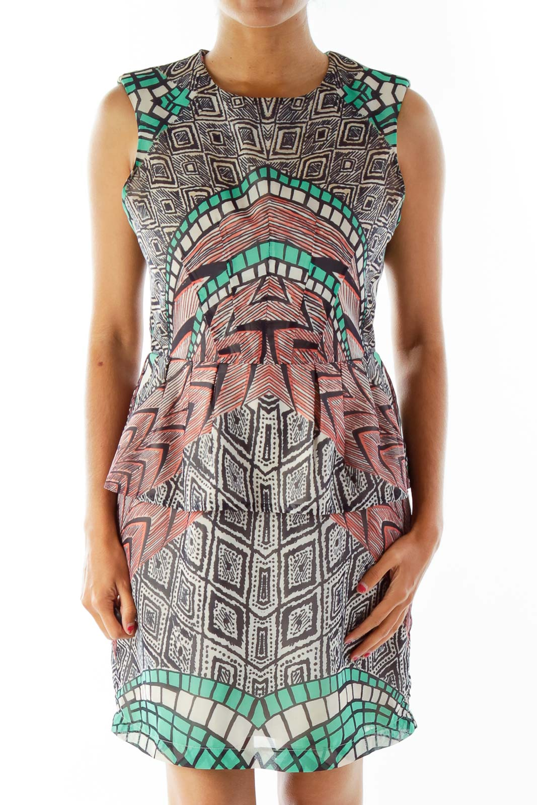 Multicolor Print Day Dress Front