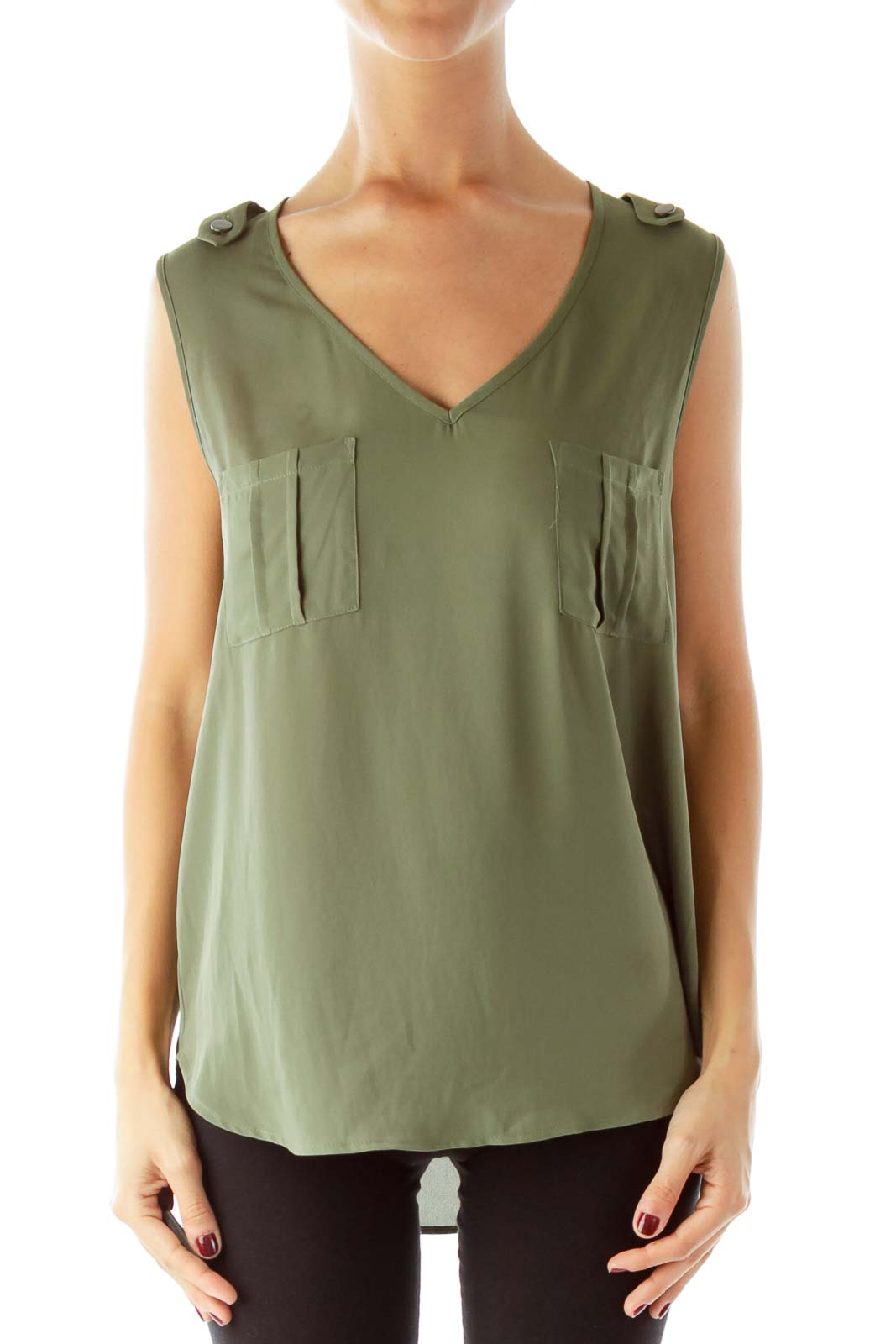 Army Green Sleeveless Blouse Front