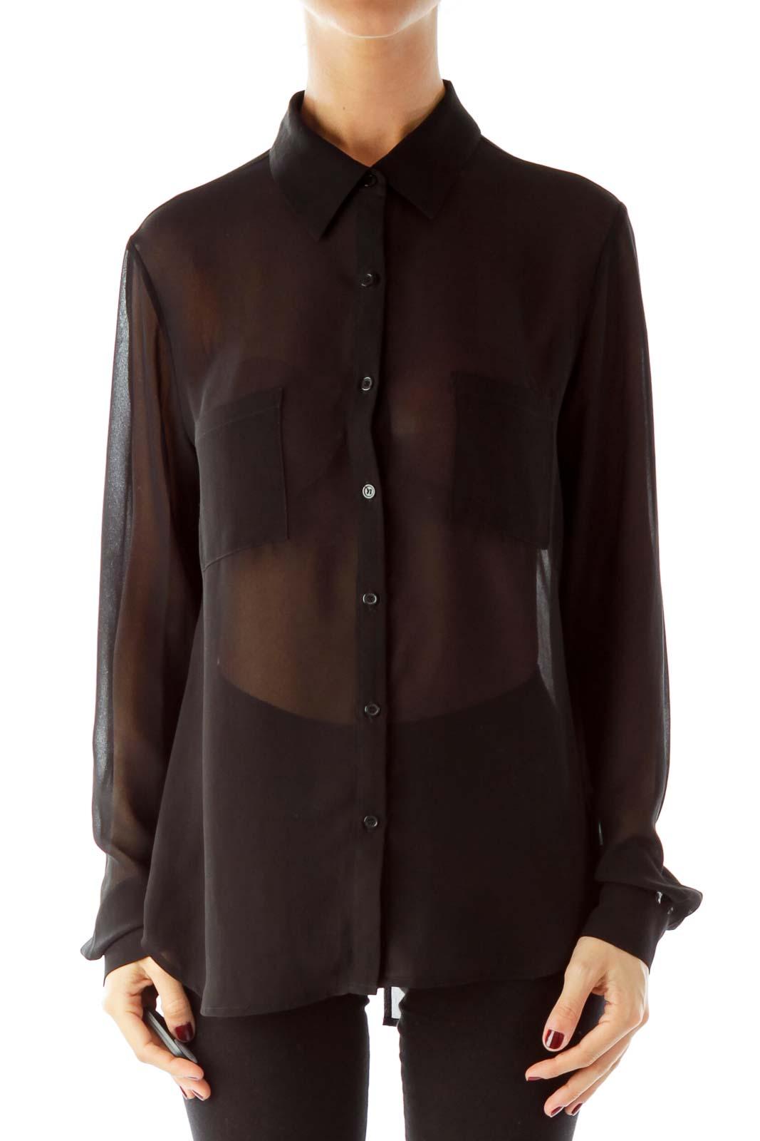 Black Buttoned Blouse Front