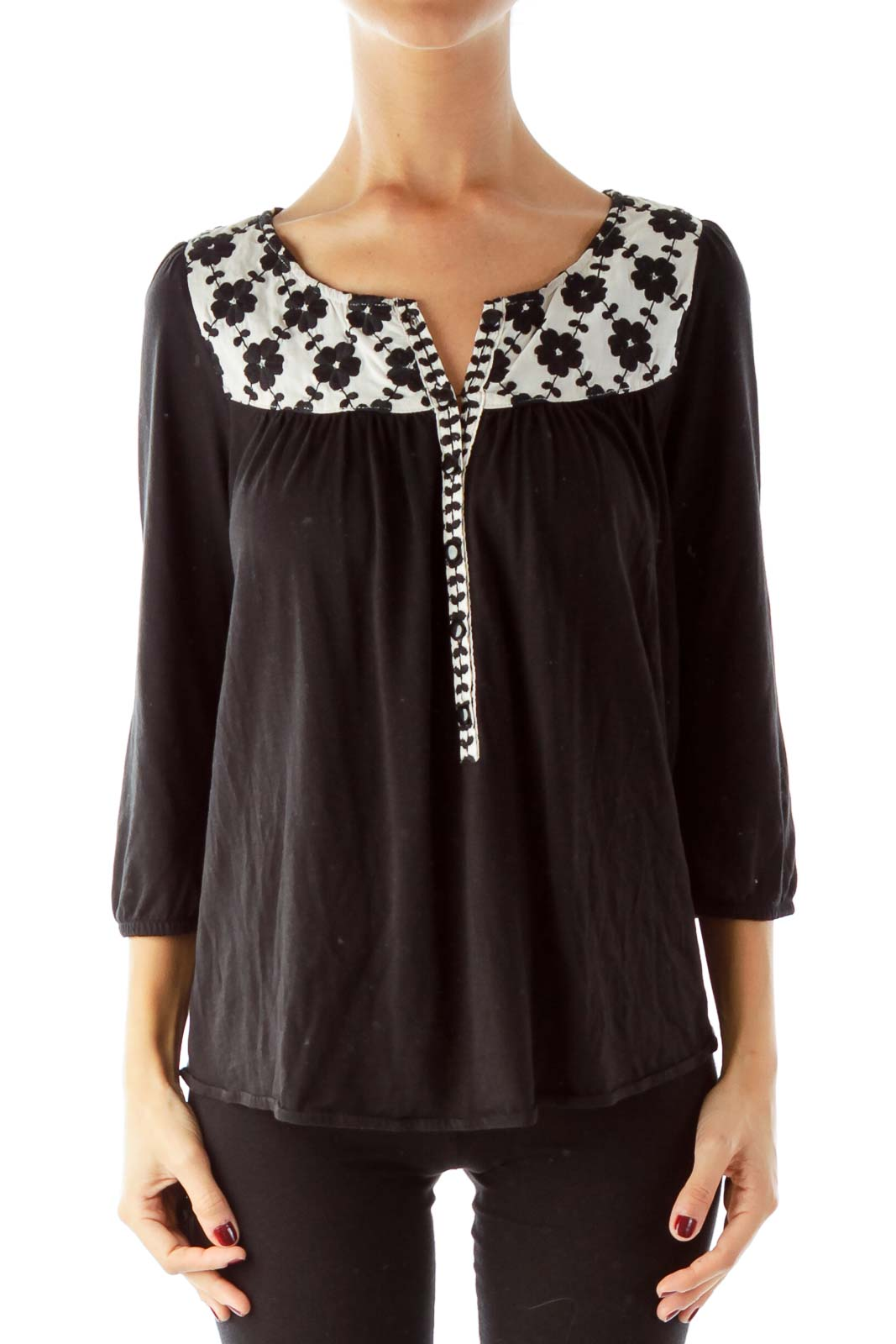 Black Cream Embroidered Peasant Top Front