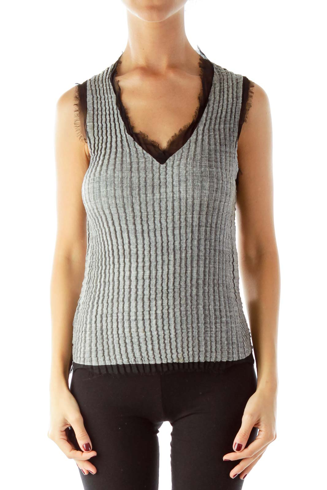 Gray Fitted Tank Top With Black Fringe Front