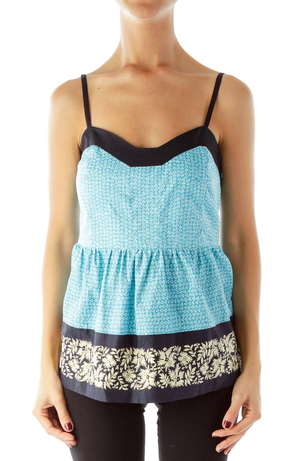 Blue Printed Floral Tank Top Front