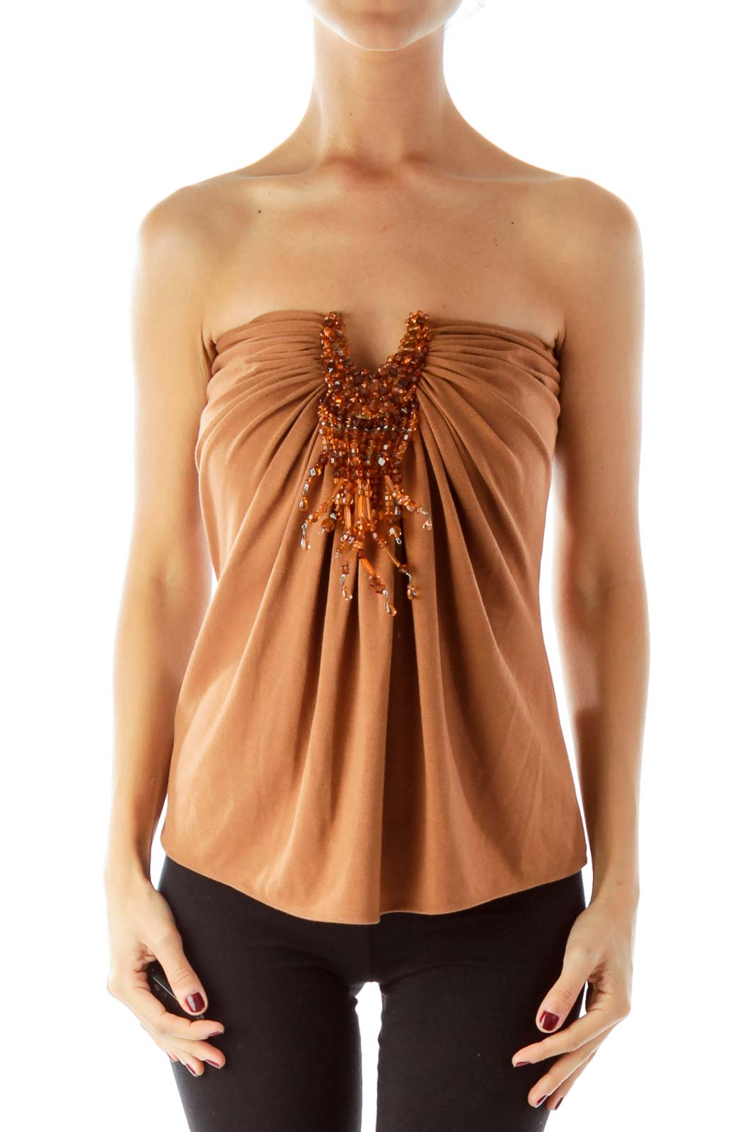 Brown Beaded Tube Top Front