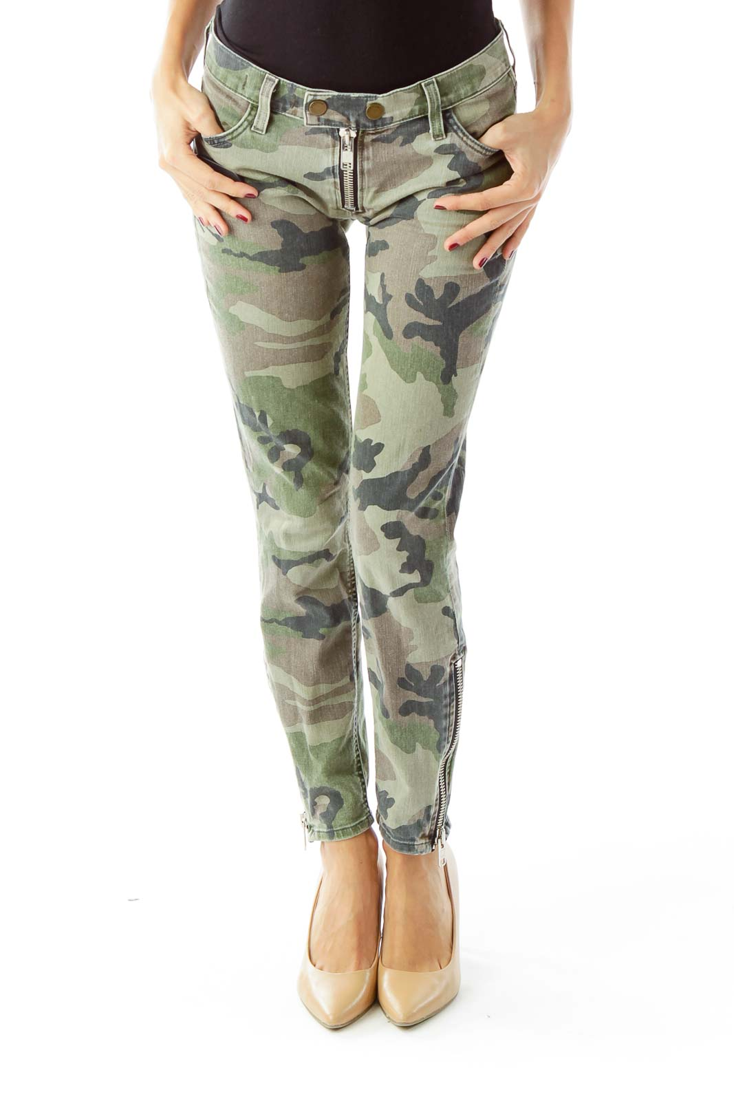 Green Camouflage Slim-Fit Jeans Front