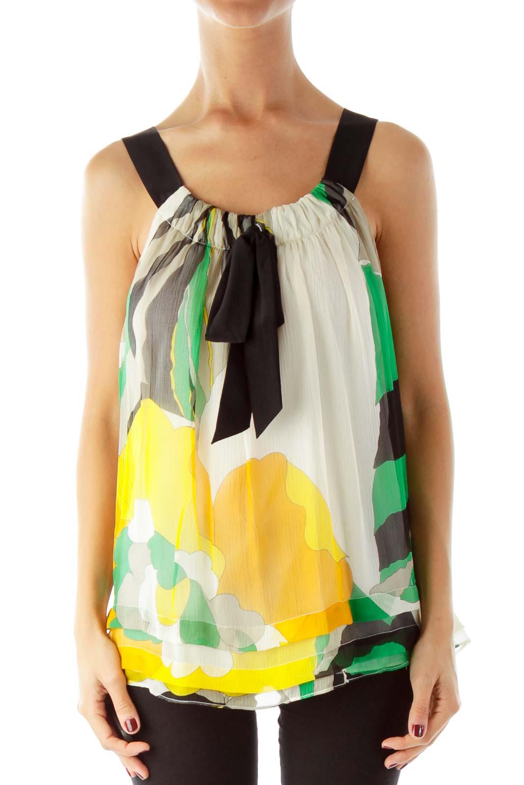 Multicolor Silk Floral Tank Top Front