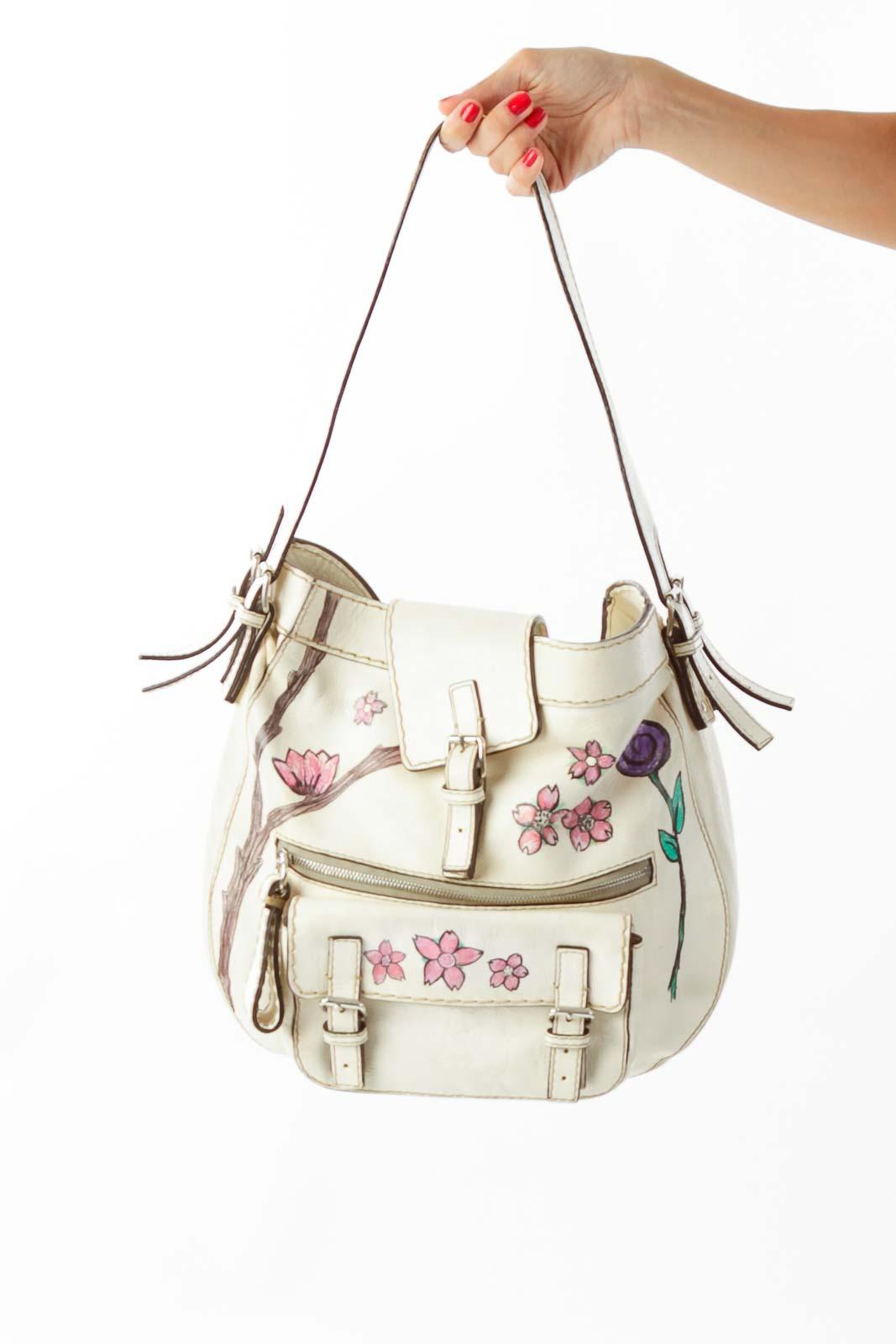 Cream Chloe Bag w/ Flower Details* Front