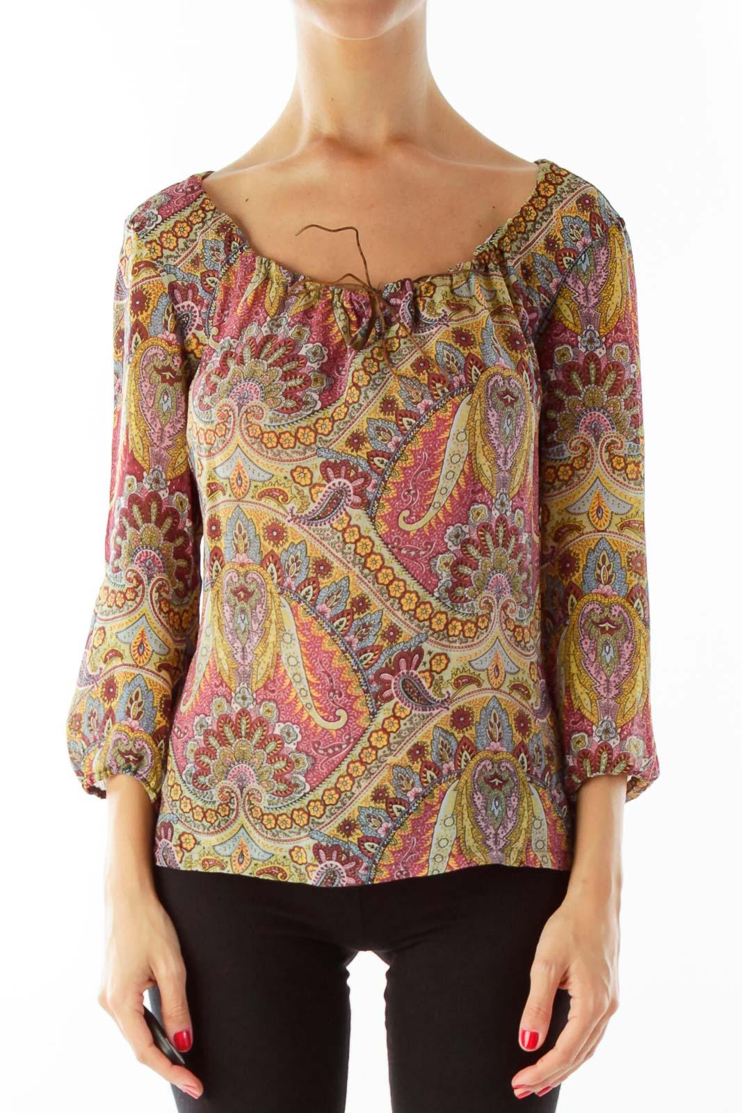 Multicolor Paisley Silk Blouse Front