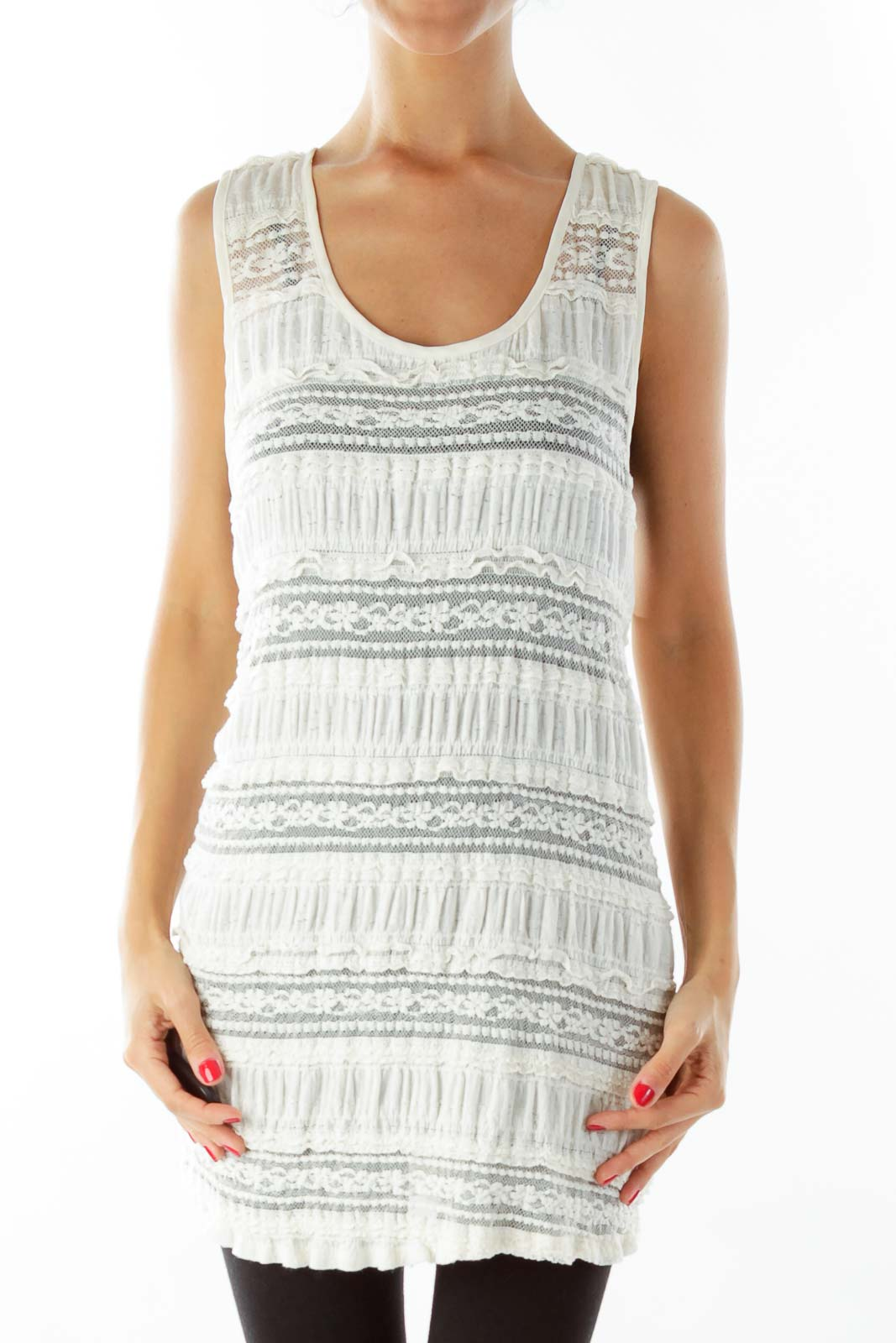 Creme Lace Loose Tank Top Front