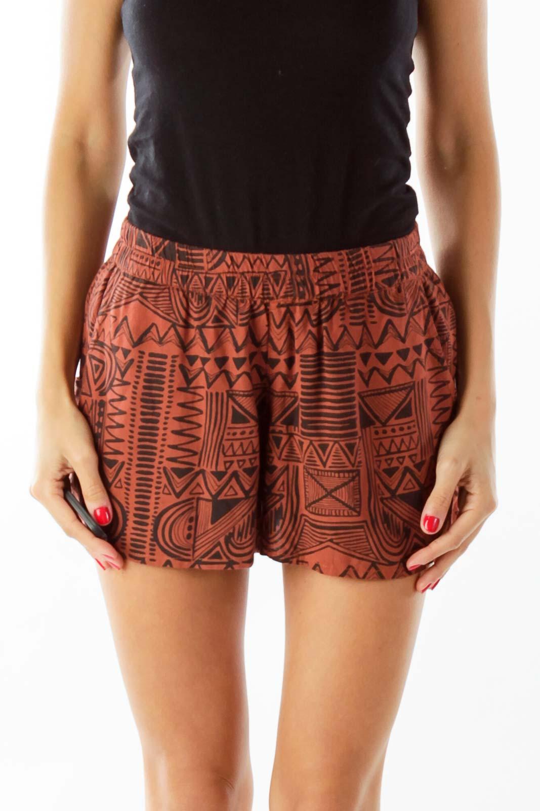 Brown Black Tribal Print Shorts Front