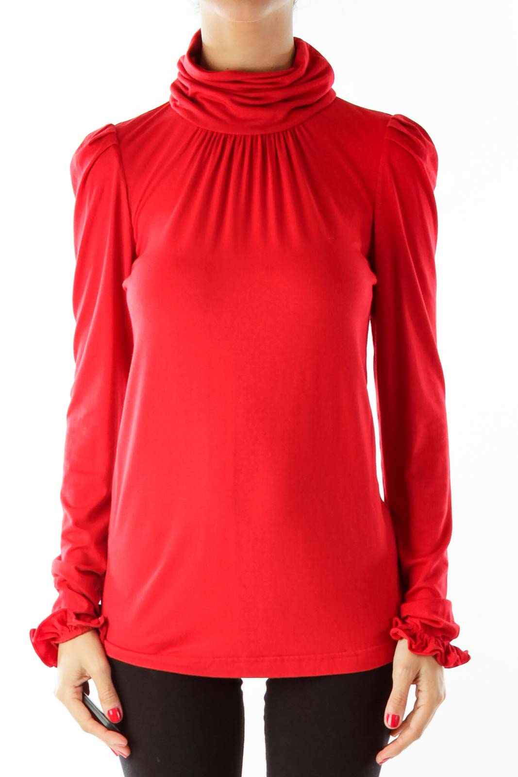 Red Ruffled Sleeve Turtle Neck Front