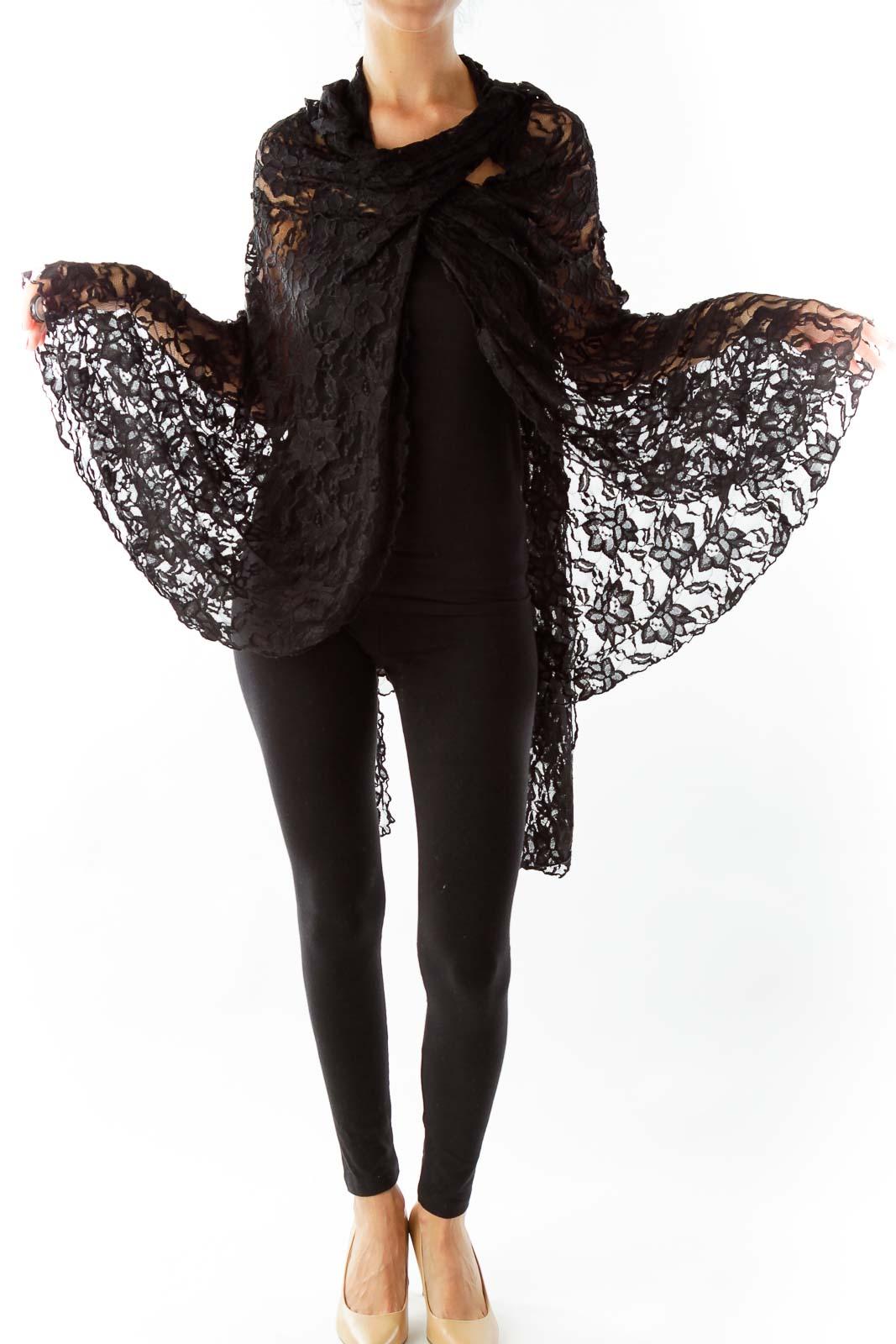 Black Lace Cape Front