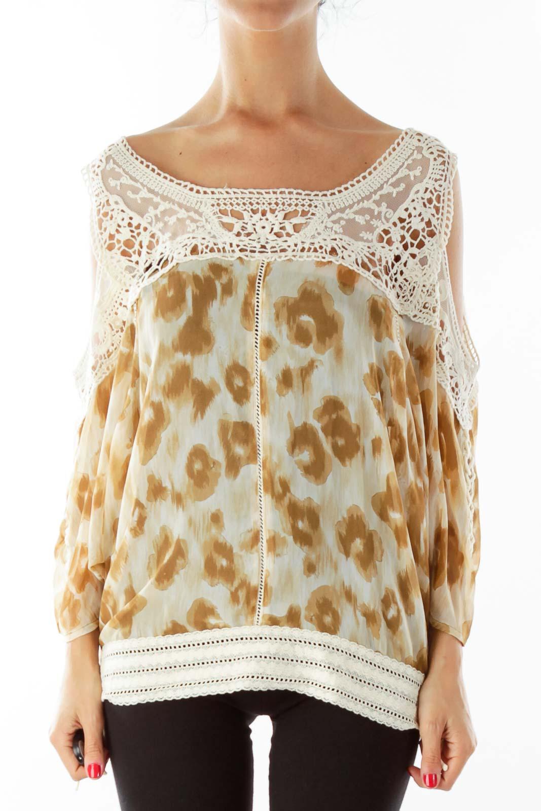 Brown Cream Lace Cold Shoulder Blouse Front