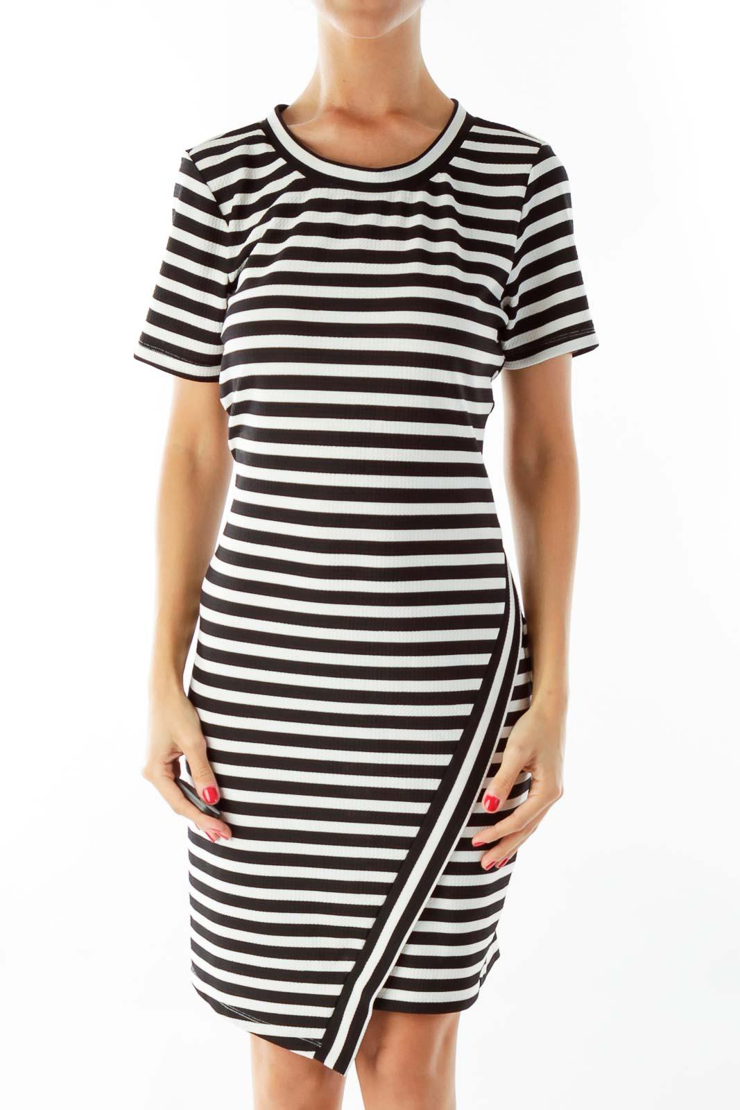 Black & White Striped Dress Front