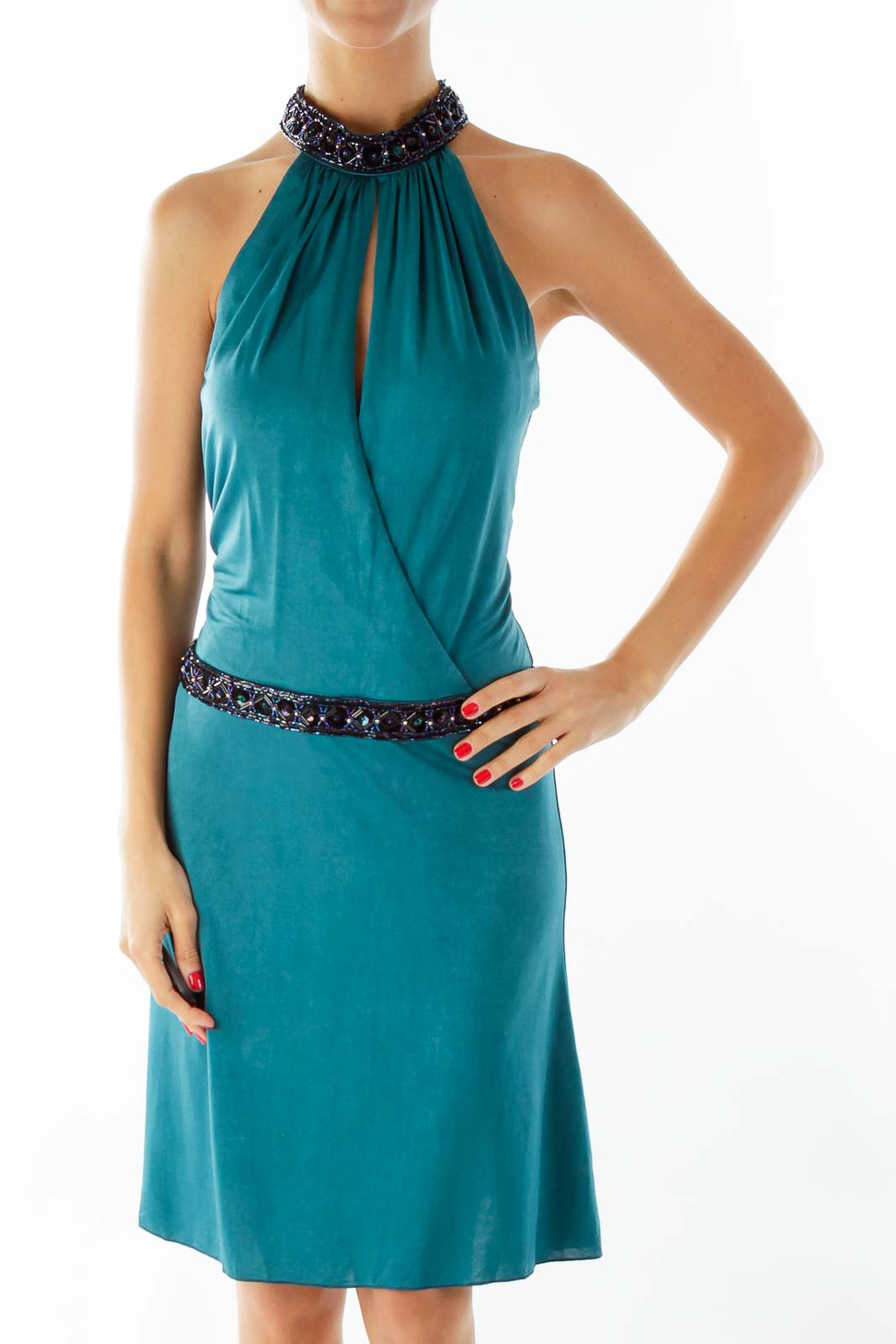 Teal Green Beaded Cocktail Dress Front