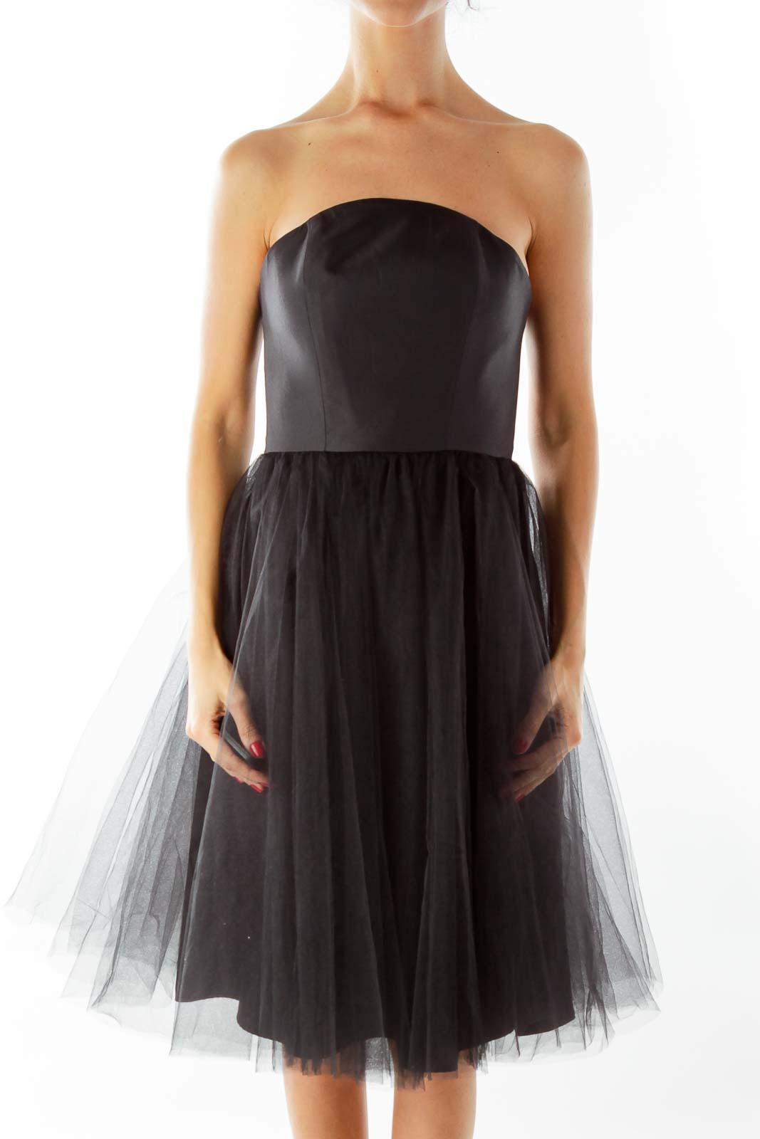 Black Tulle Strapless Dress Front