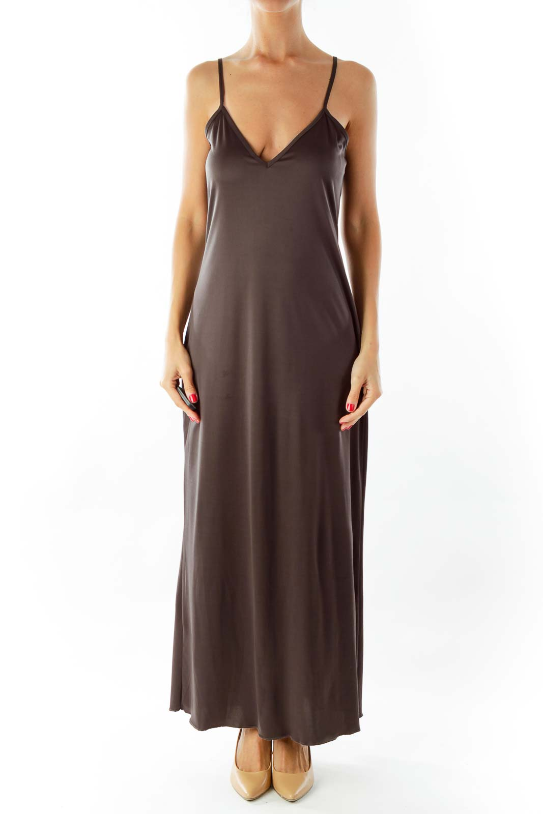 Gray Spaghetti Strap Dress Front