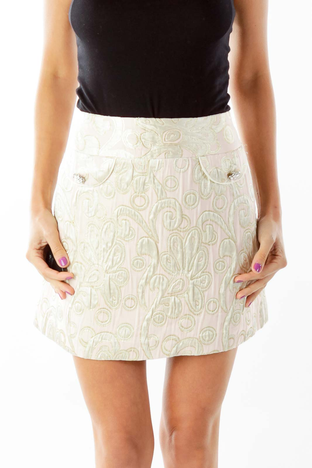 Pink Gold Paisley Metallic Mini Skirt Front
