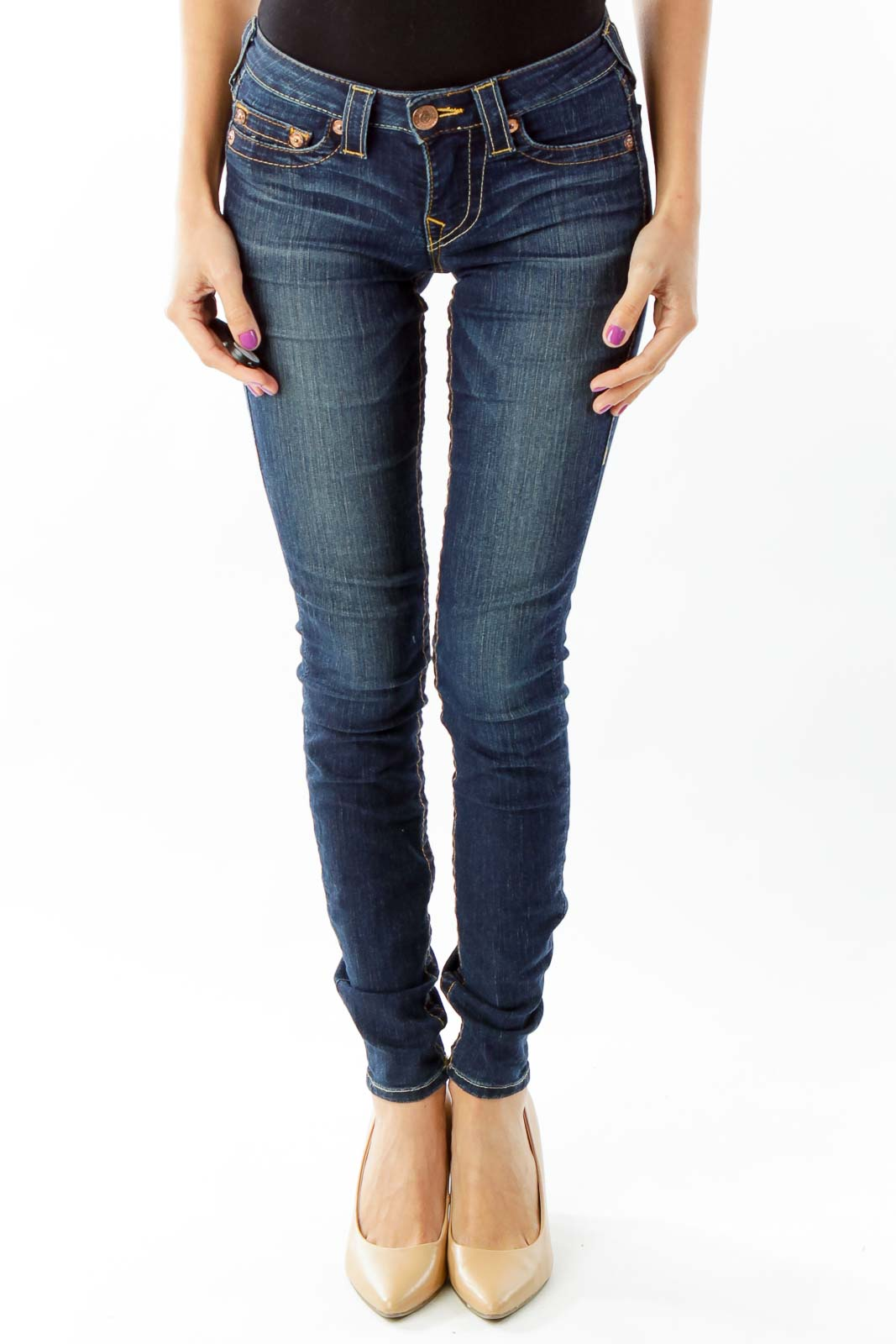 Blue Skinny Jeans Front