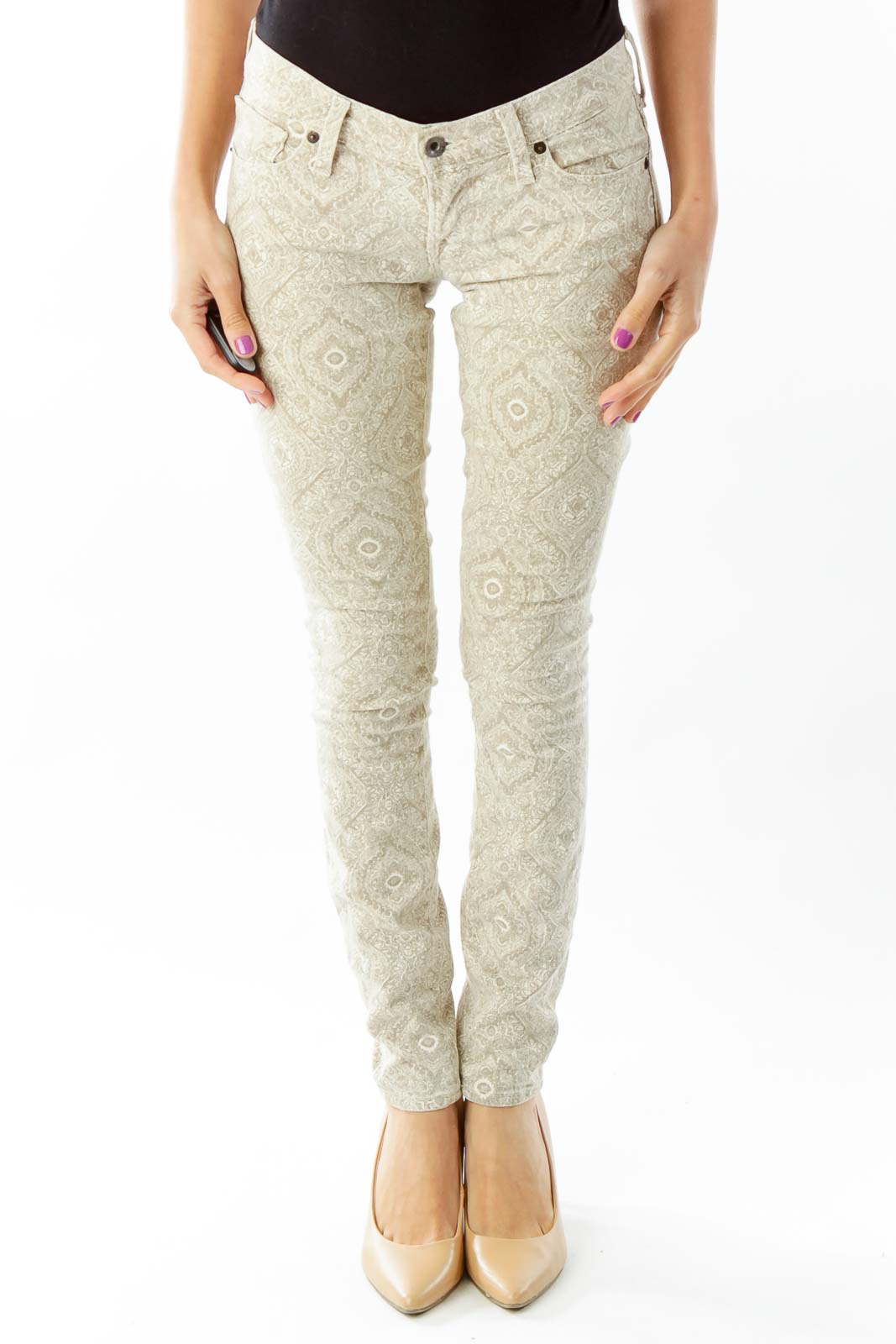 Brown Paisley Skinny Jeans Front