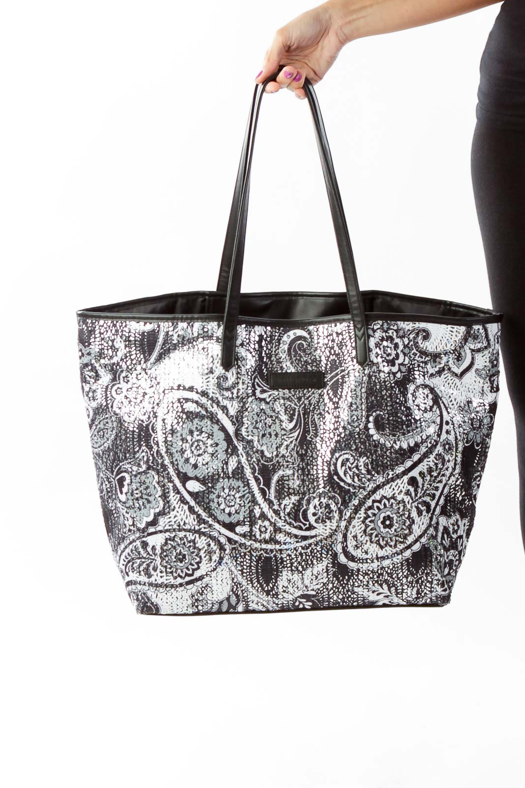Black White Paisley Sequin Tote Front