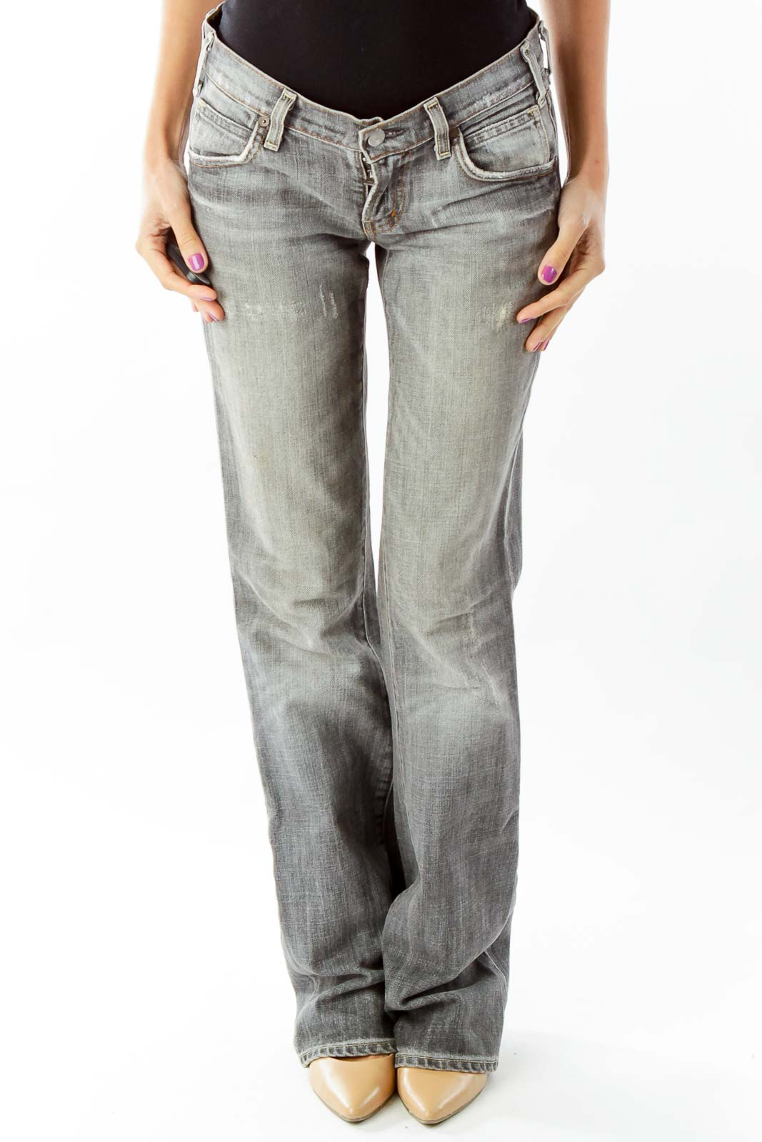 Gray Flared Jeans Front