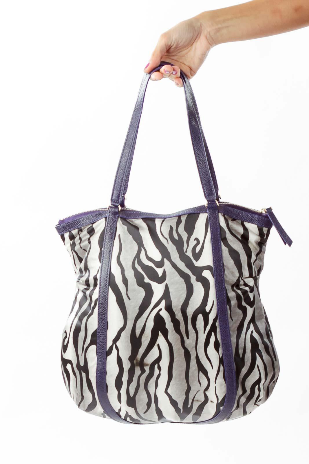 Purple Black Zebra Print Tote Front