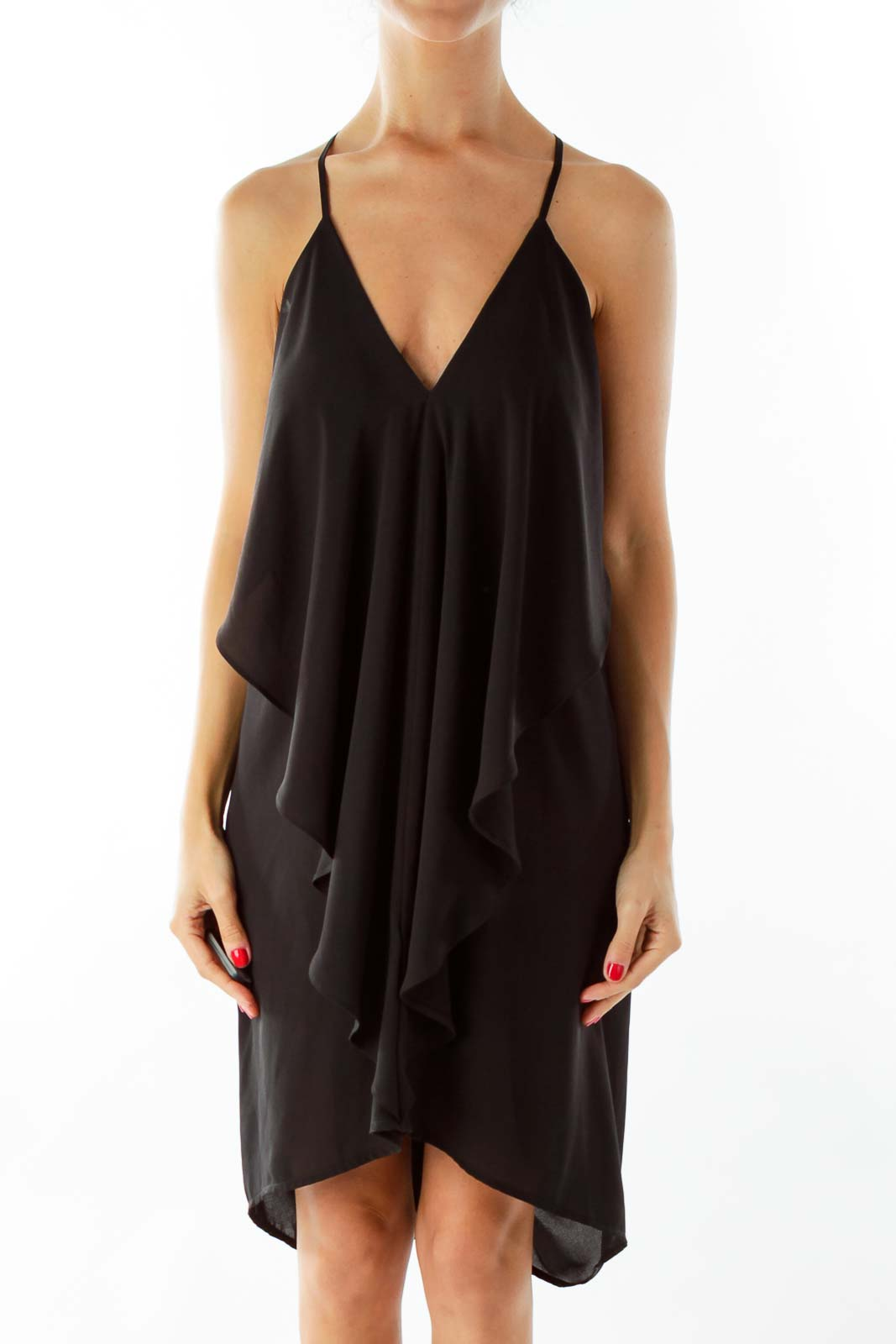 Black Ruffled Drape Cocktail Dress Front