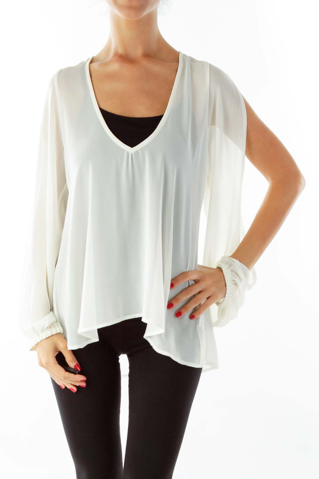 Cream Sheer Loose Blouse Front