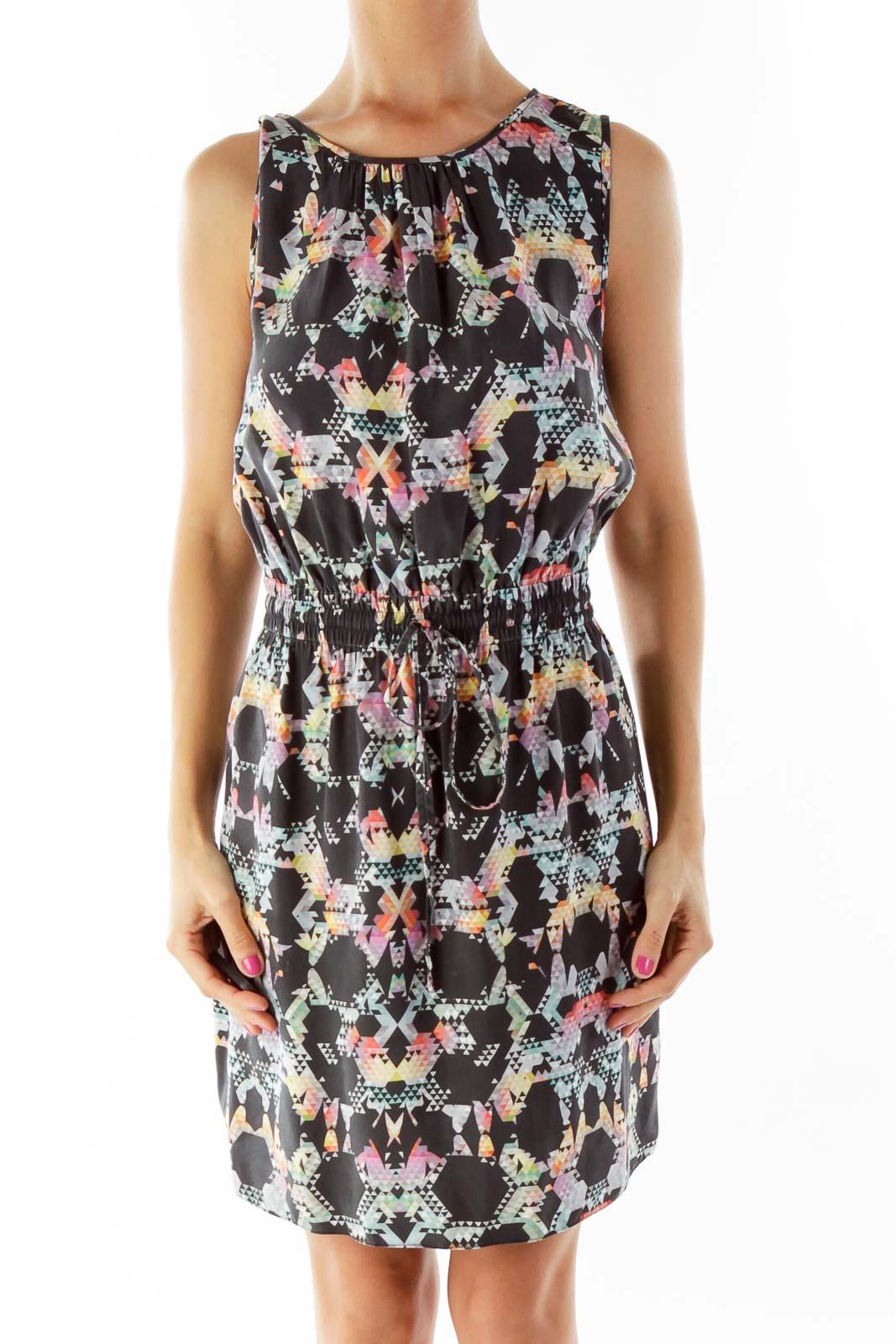 Black Scrunch Multicolor Print Day Dress Front